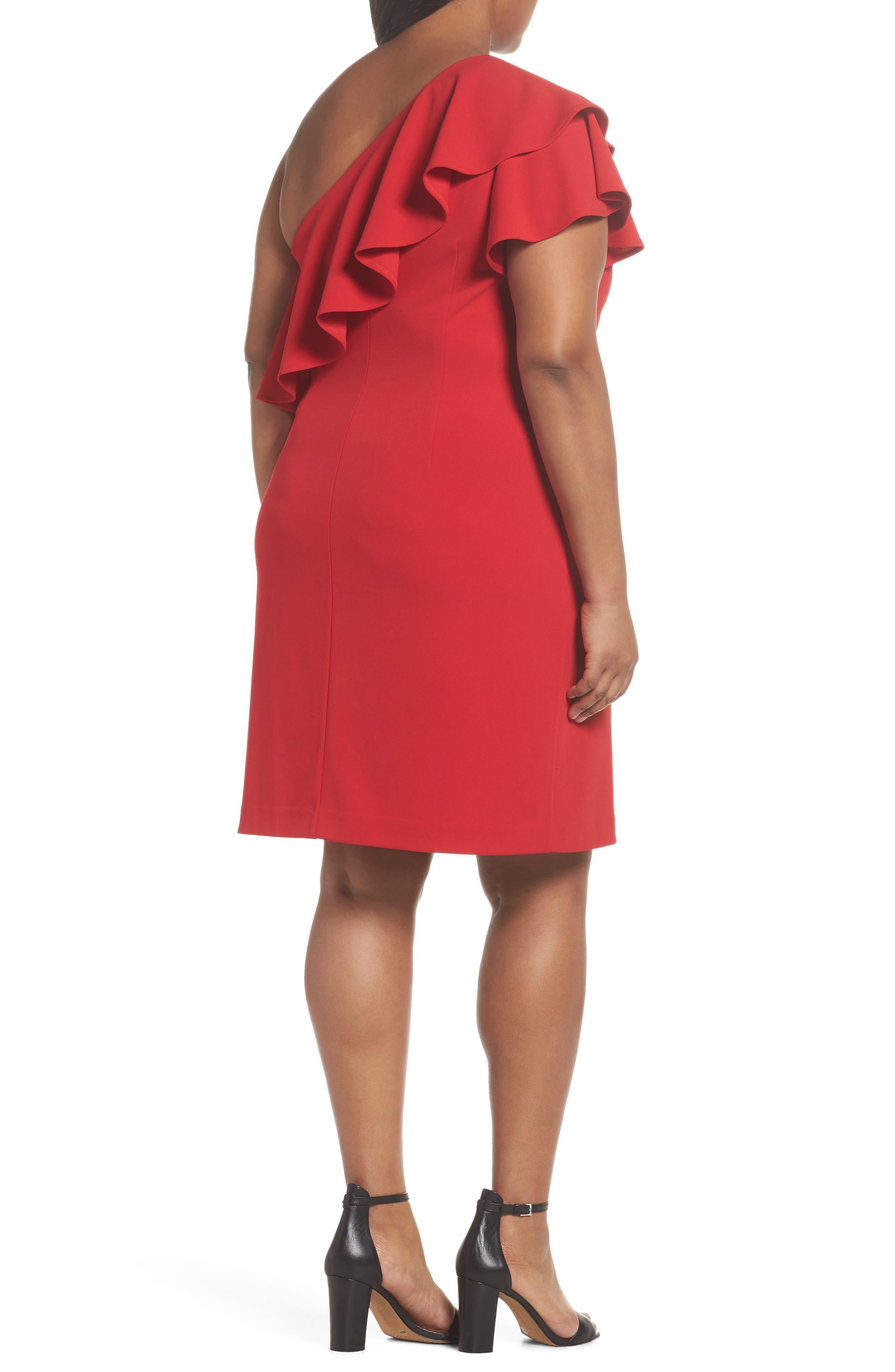 Ruffle One-Shoulder Scuba Body-Con Dress,                             Alternate thumbnail 2, color,                             Red