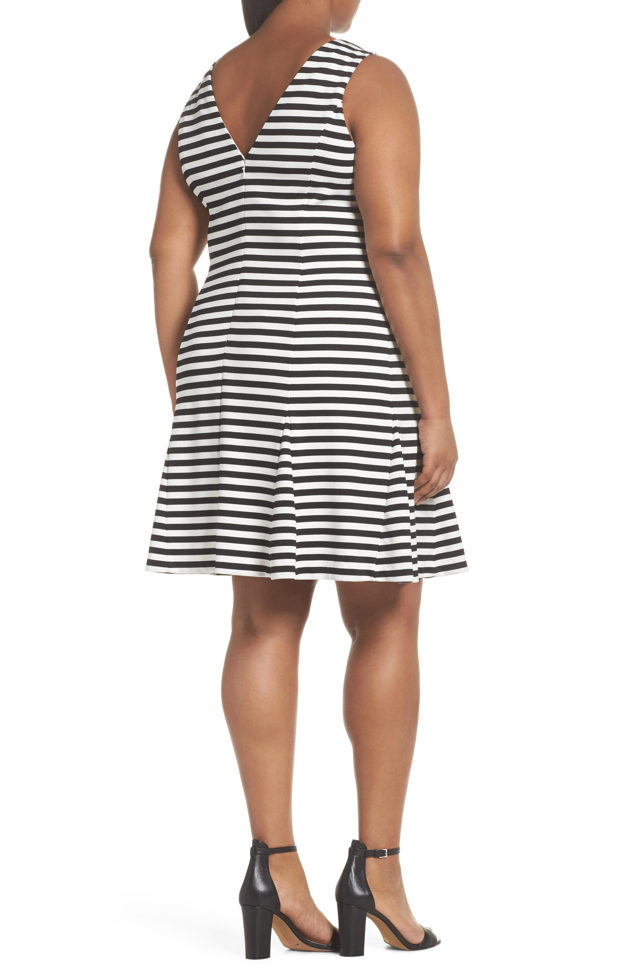 Godet Body-Con Dress,                             Alternate thumbnail 2, color,                             Black/ Ivory