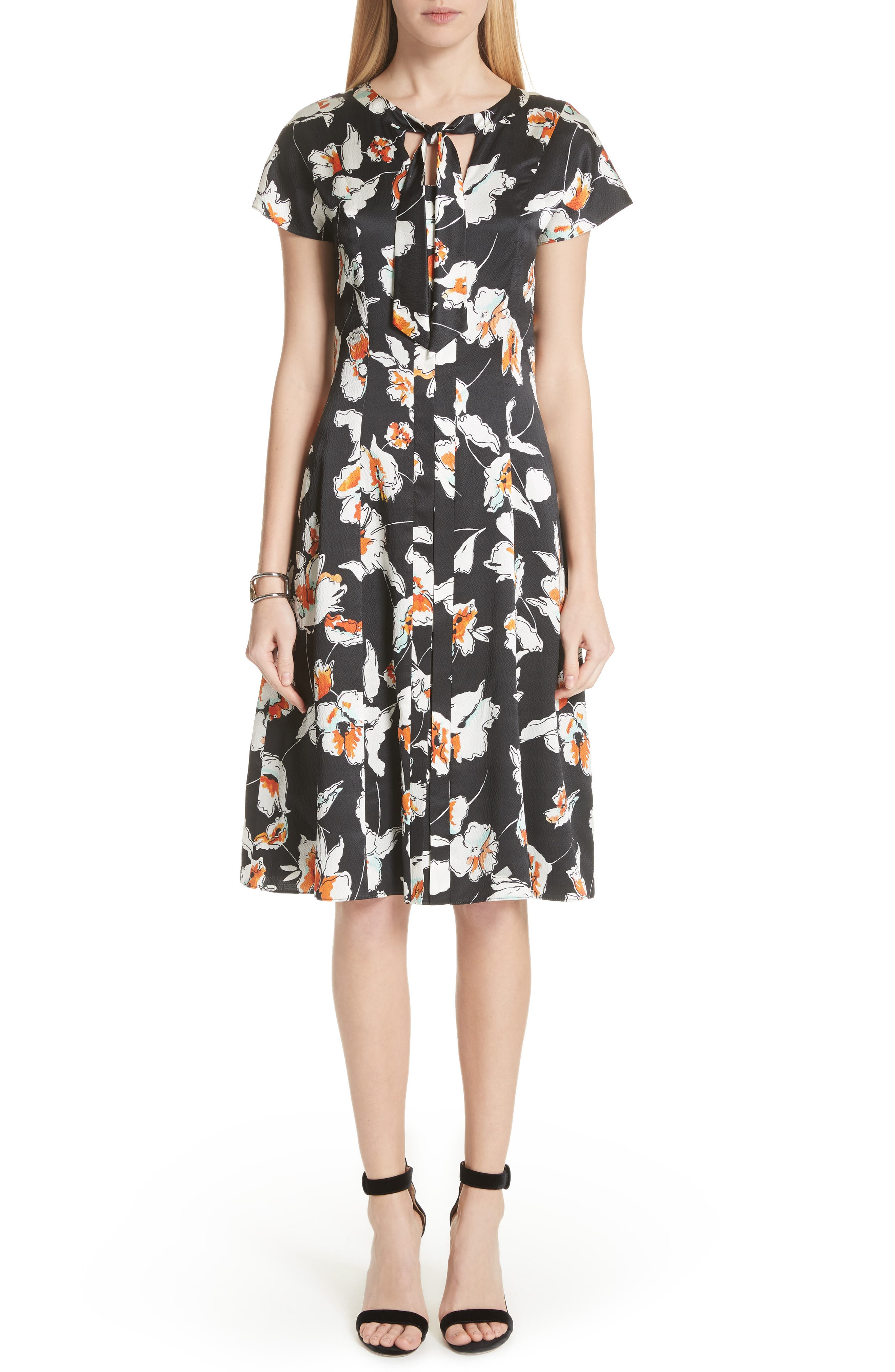 Modern Floral Hammered Satin Dress,                         Main,                         color, Caviar Multi