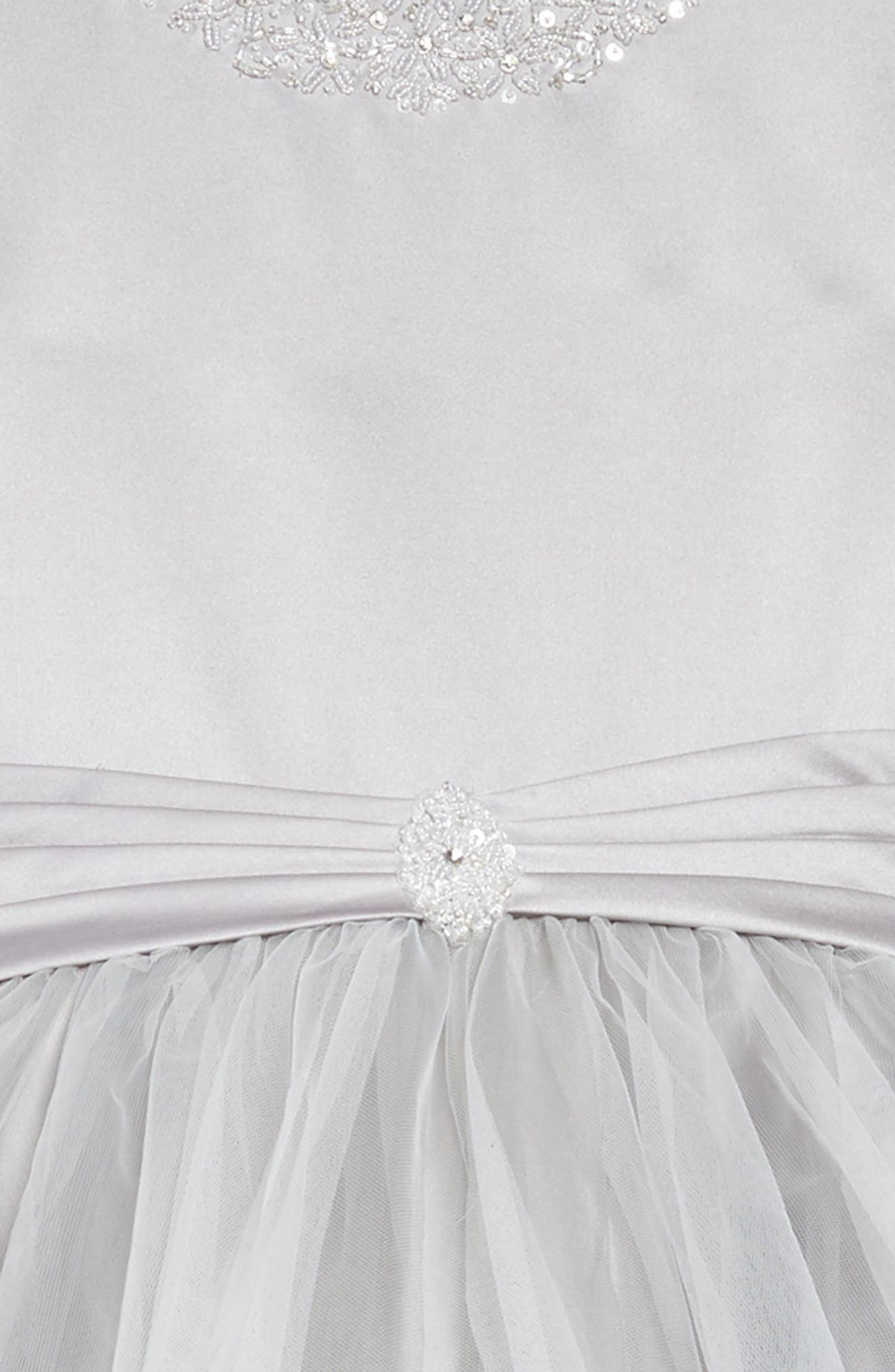 Beaded Satin & Tulle First Communion Dress,                             Alternate thumbnail 3, color,                             Platinum