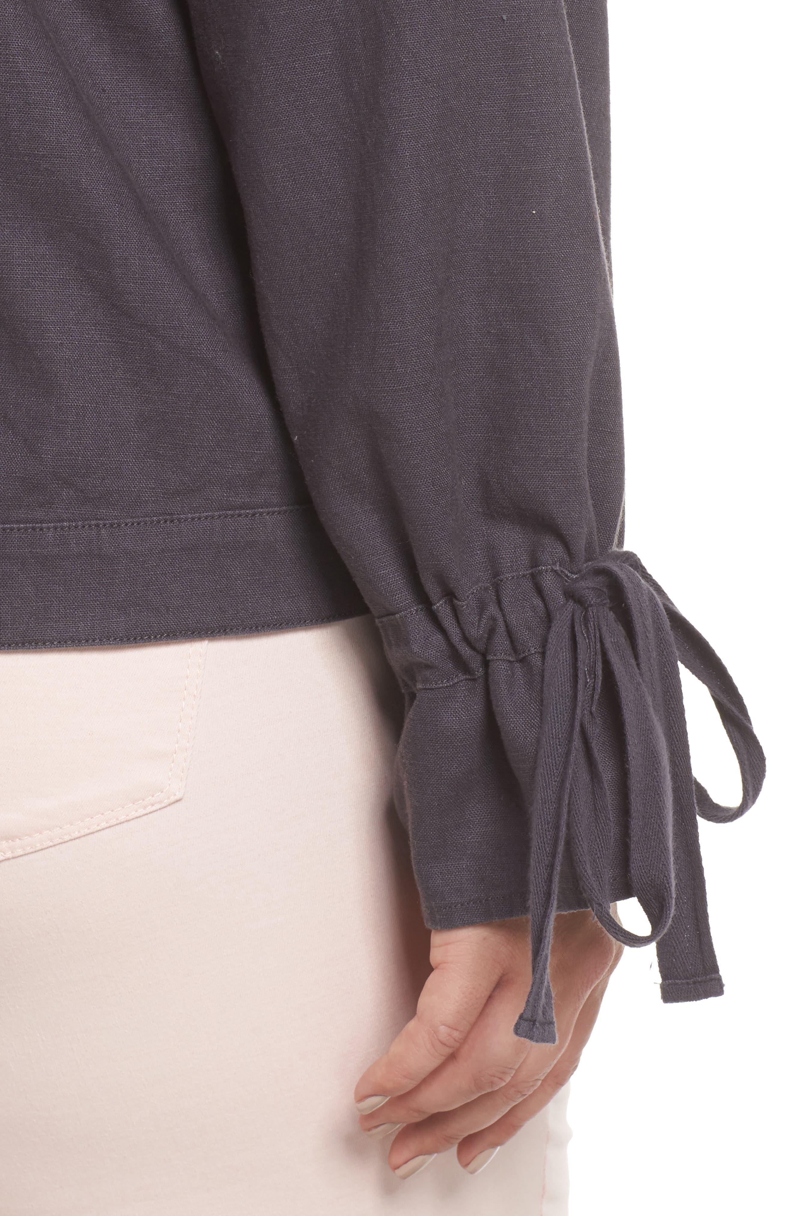 Tie Sleeve Utility Jacket,                             Alternate thumbnail 4, color,                             Grey Ebony