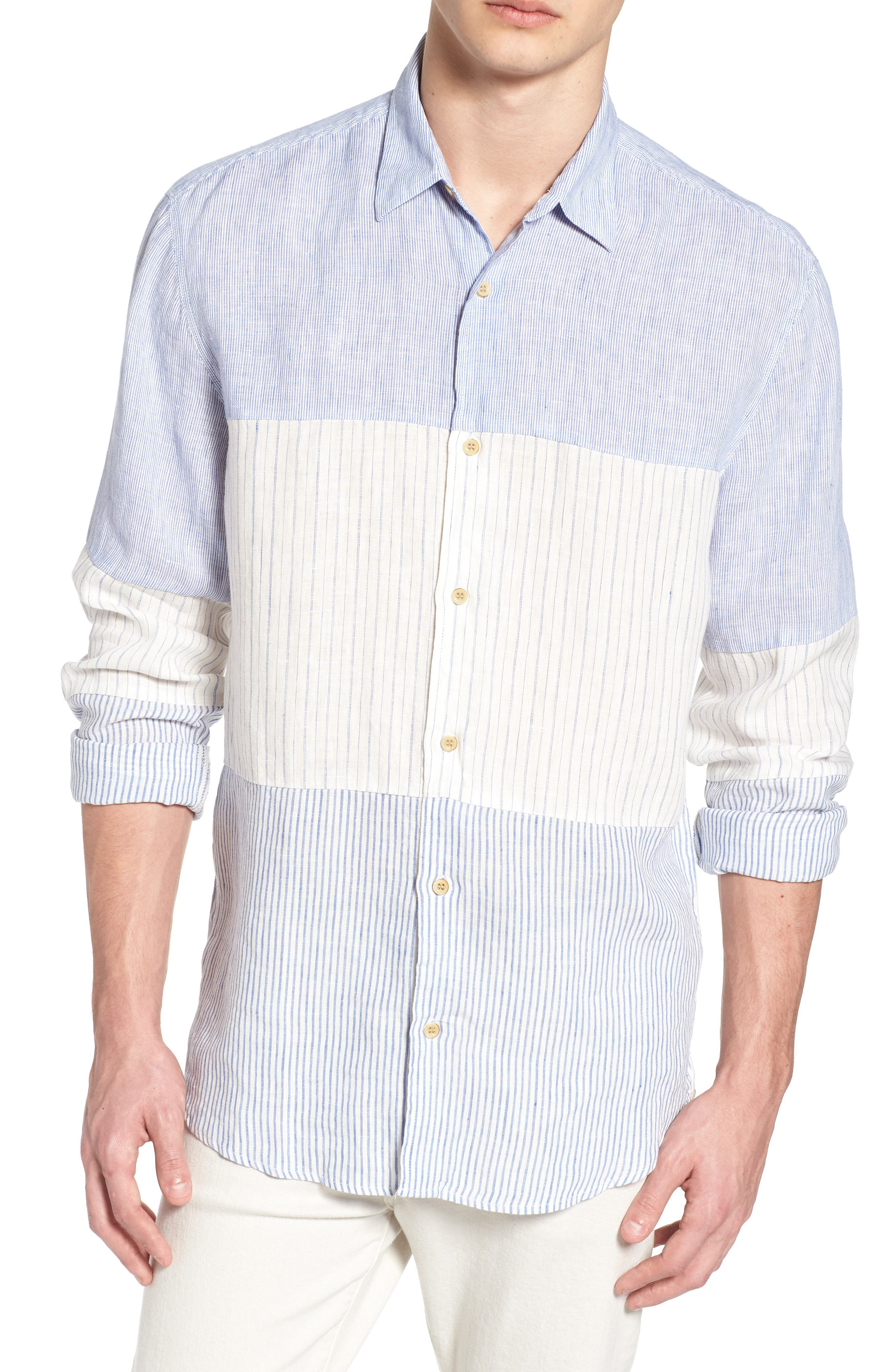 Relaxed Fit Stripe Linen & Cotton Sport Shirt,                             Main thumbnail 1, color,                             Rich Blue Stripes