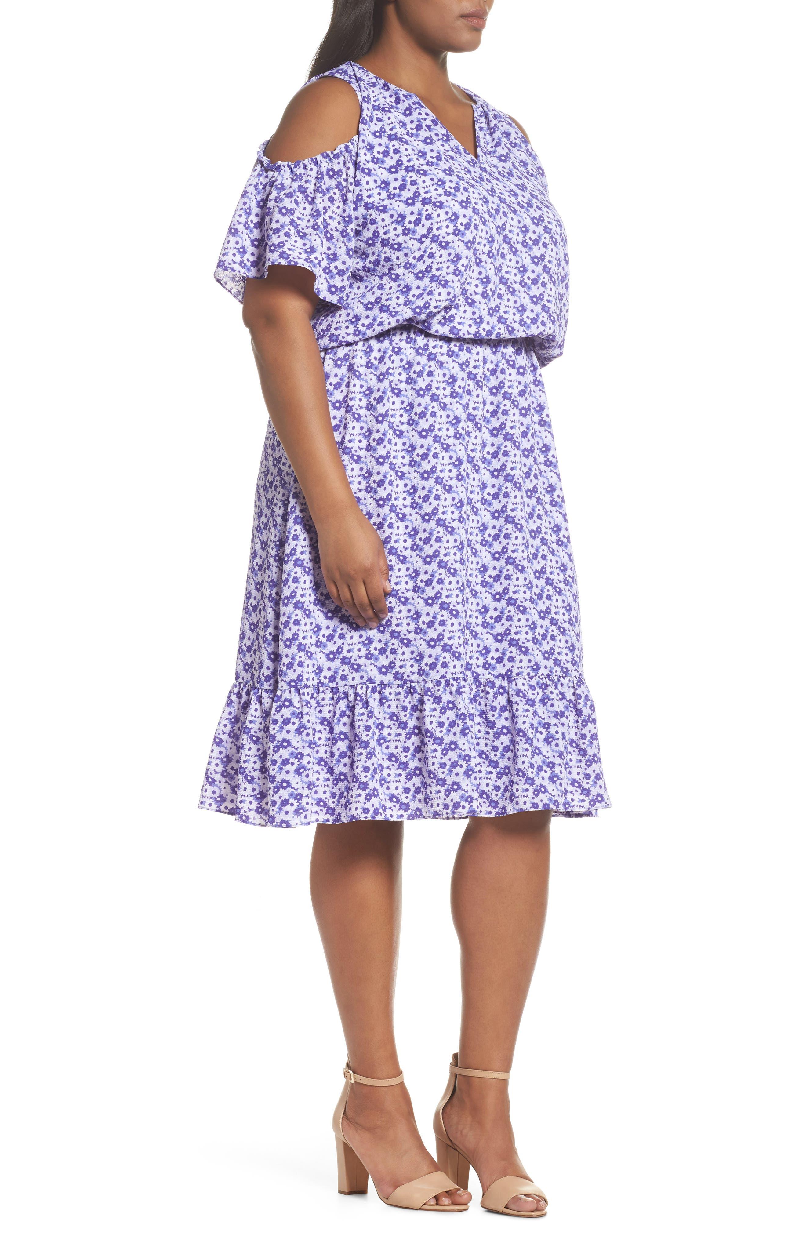 Floral Cold Shoulder Midi Dress,                             Alternate thumbnail 3, color,                             Amethyst/ Light Quartz Multi
