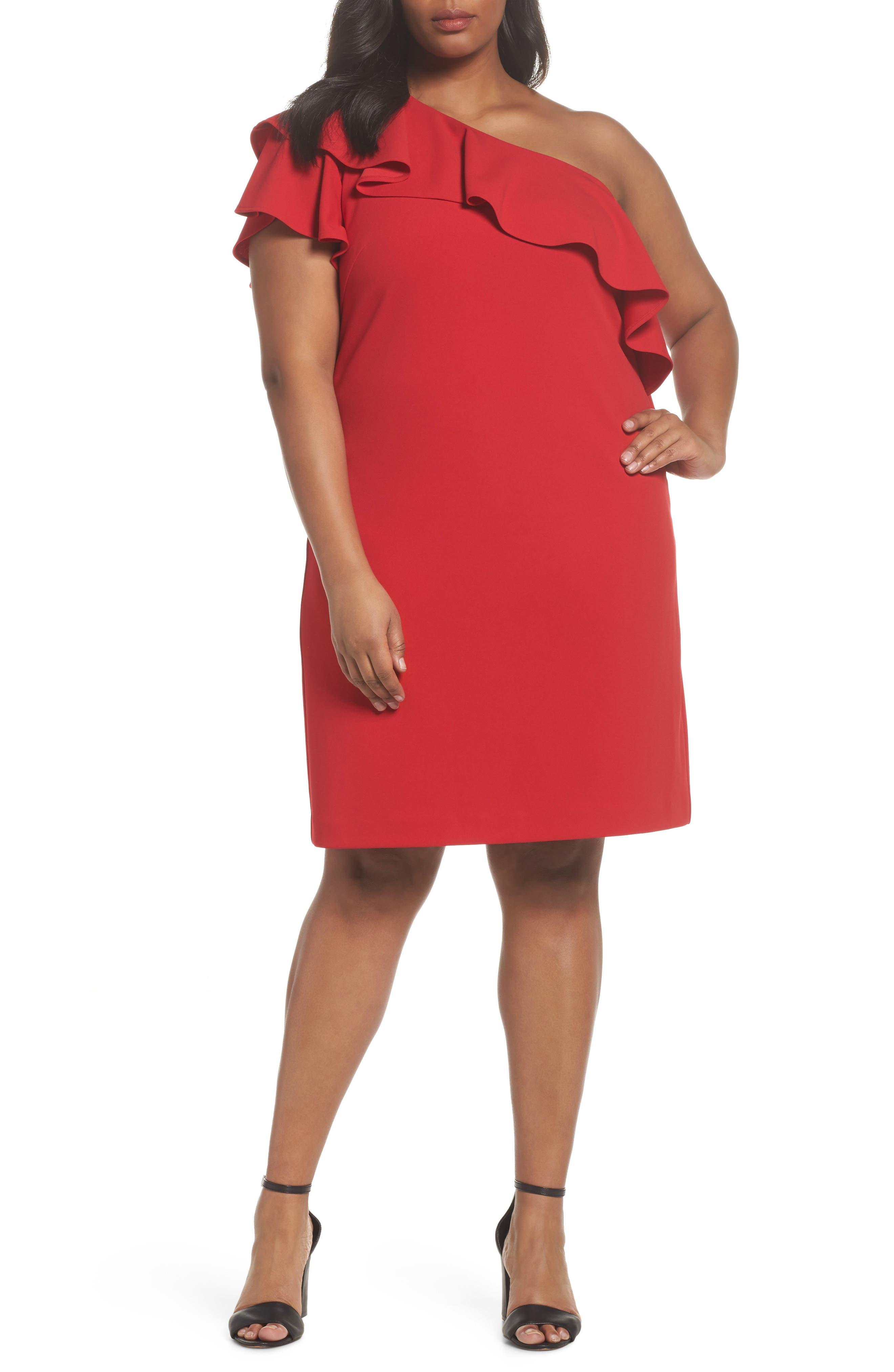 Ruffle One-Shoulder Scuba Body-Con Dress,                             Main thumbnail 1, color,                             Red
