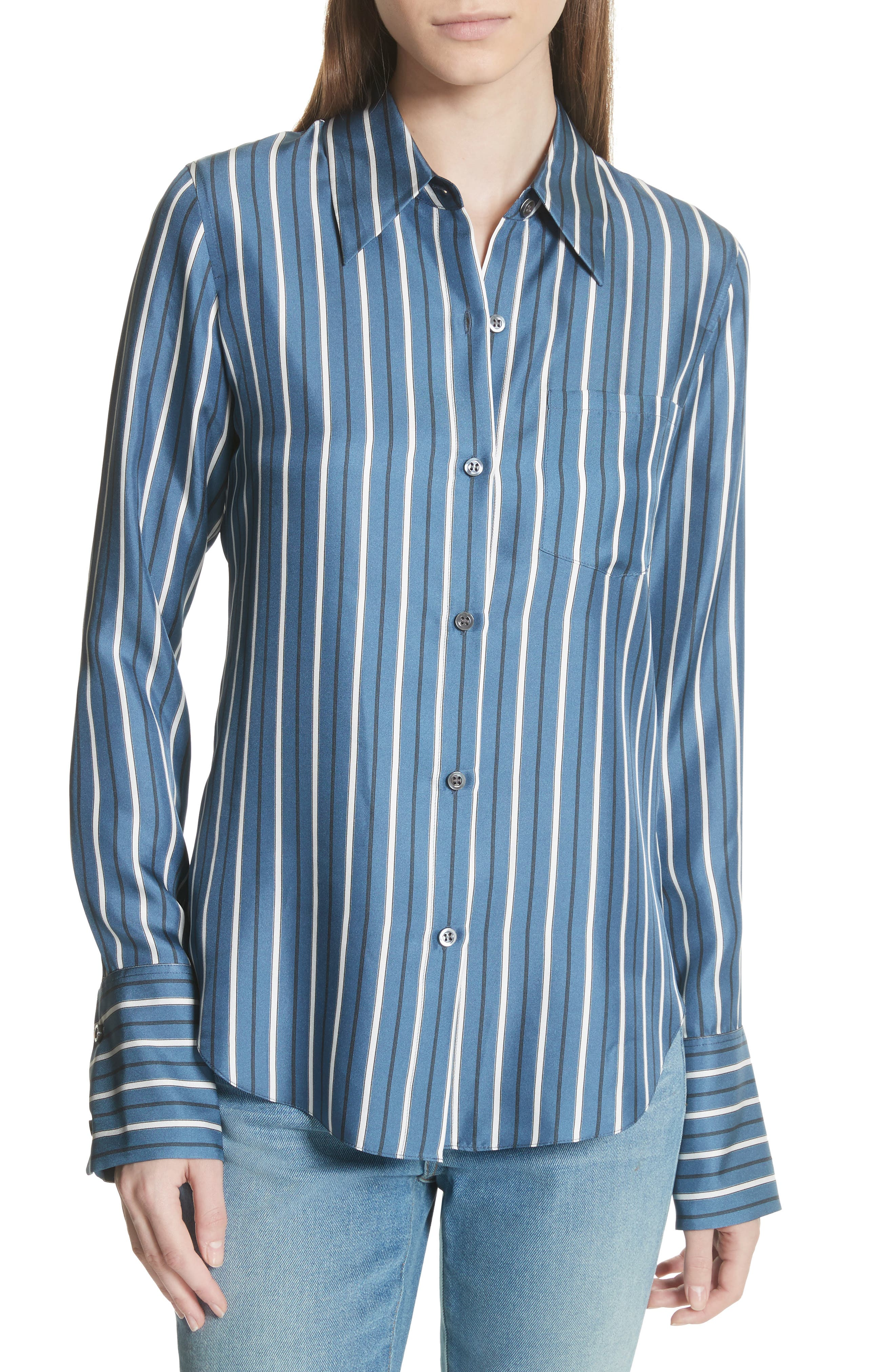 Darby Silk Button Shirt,                             Main thumbnail 1, color,                             Light Santorini Blue