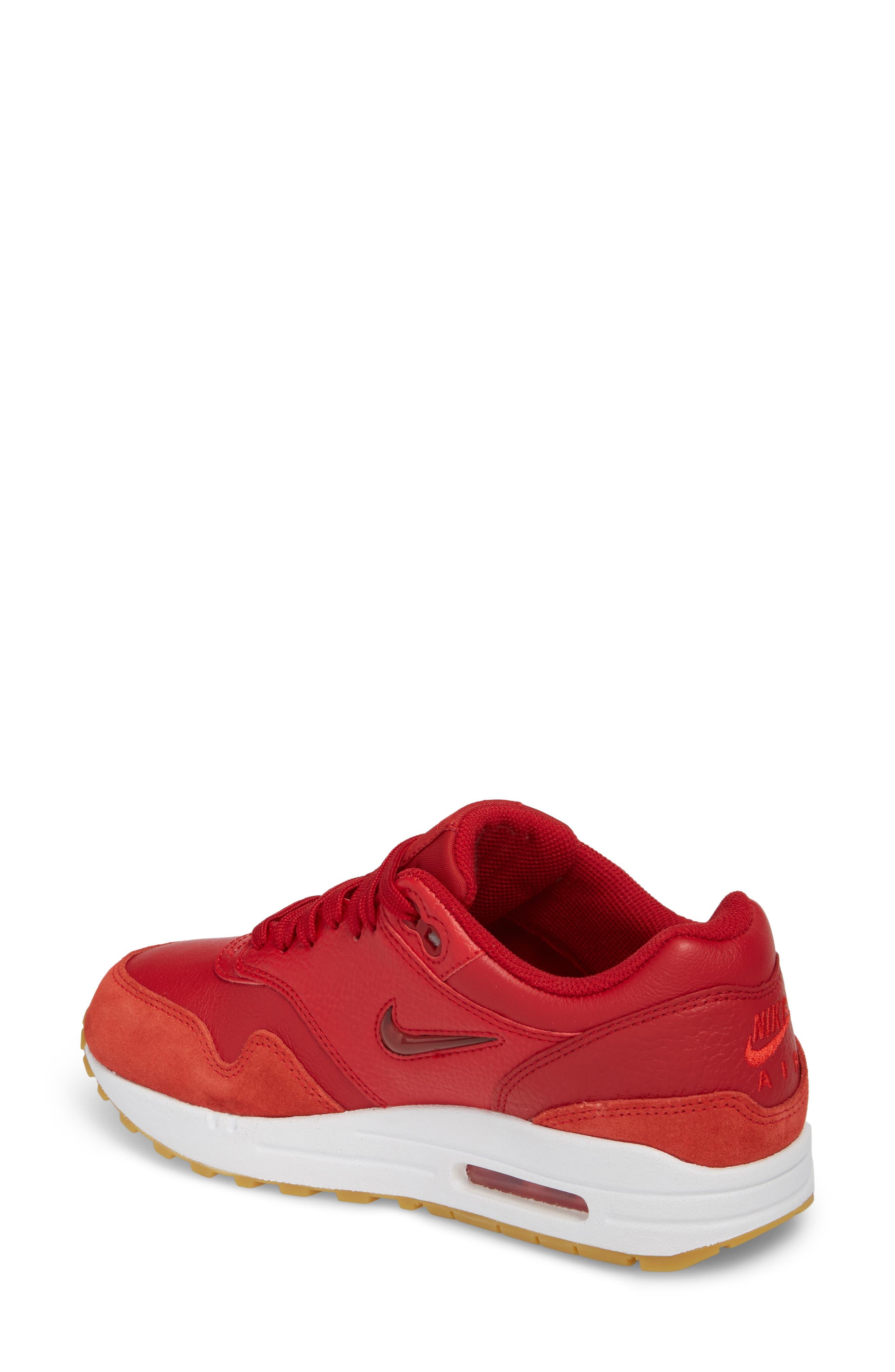 Air Max 1 Premium SC Sneaker,                             Alternate thumbnail 2, color,                             Gym Red/ Gym Red