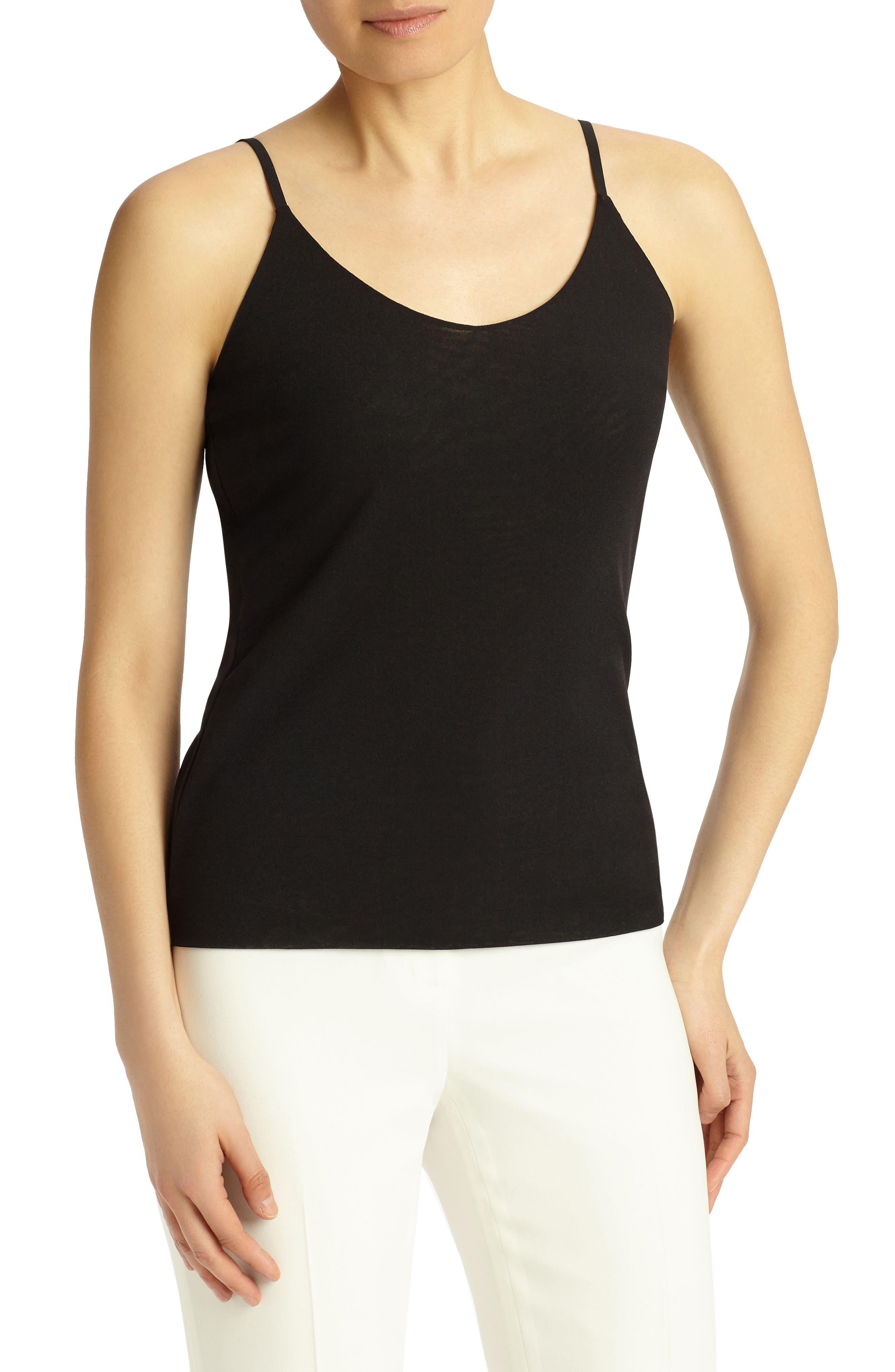 Mesh Jersey Camisole,                         Main,                         color, Black
