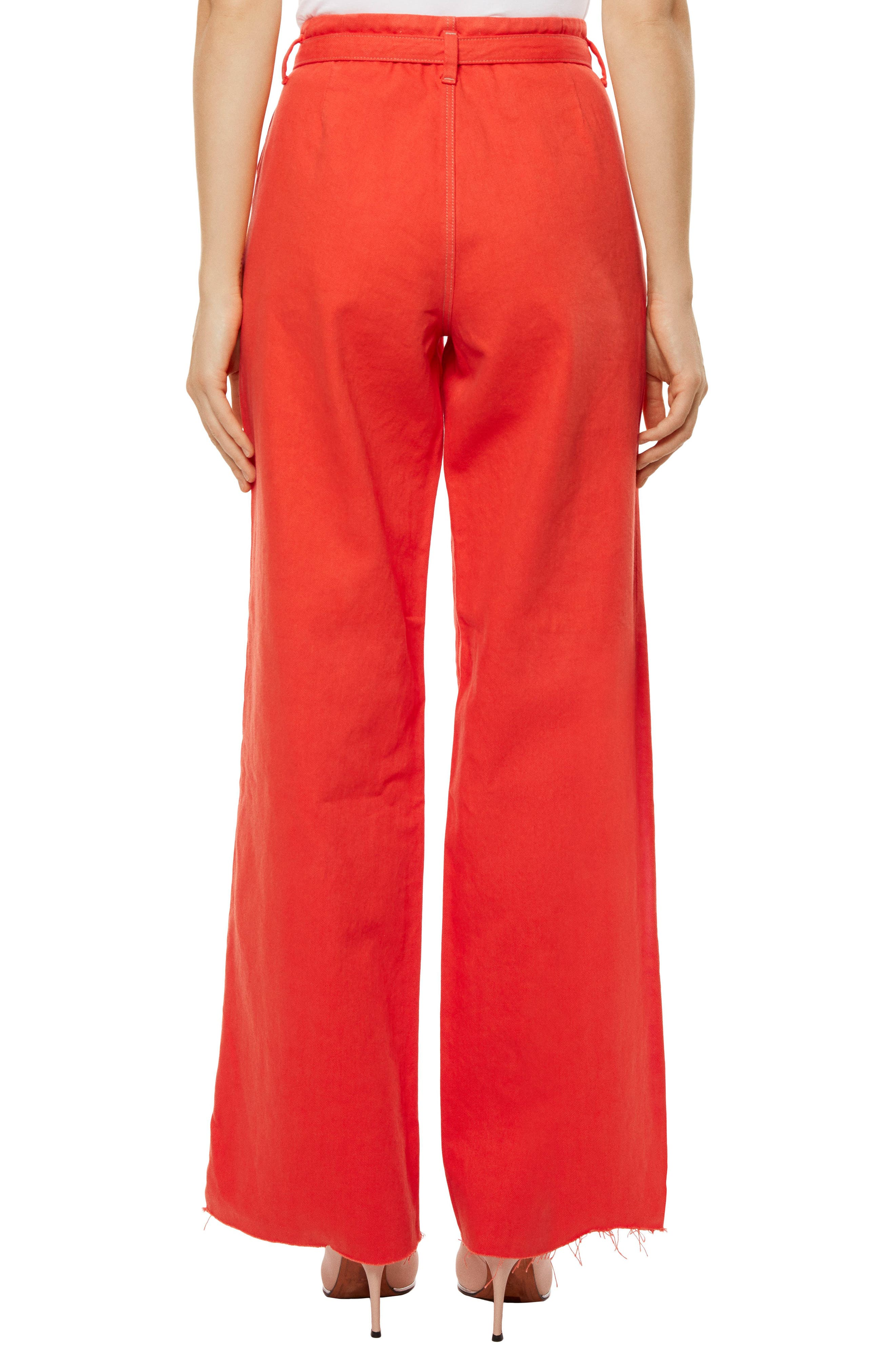 High Waist Wide Leg Pants,                             Alternate thumbnail 2, color,                             Bright Coral