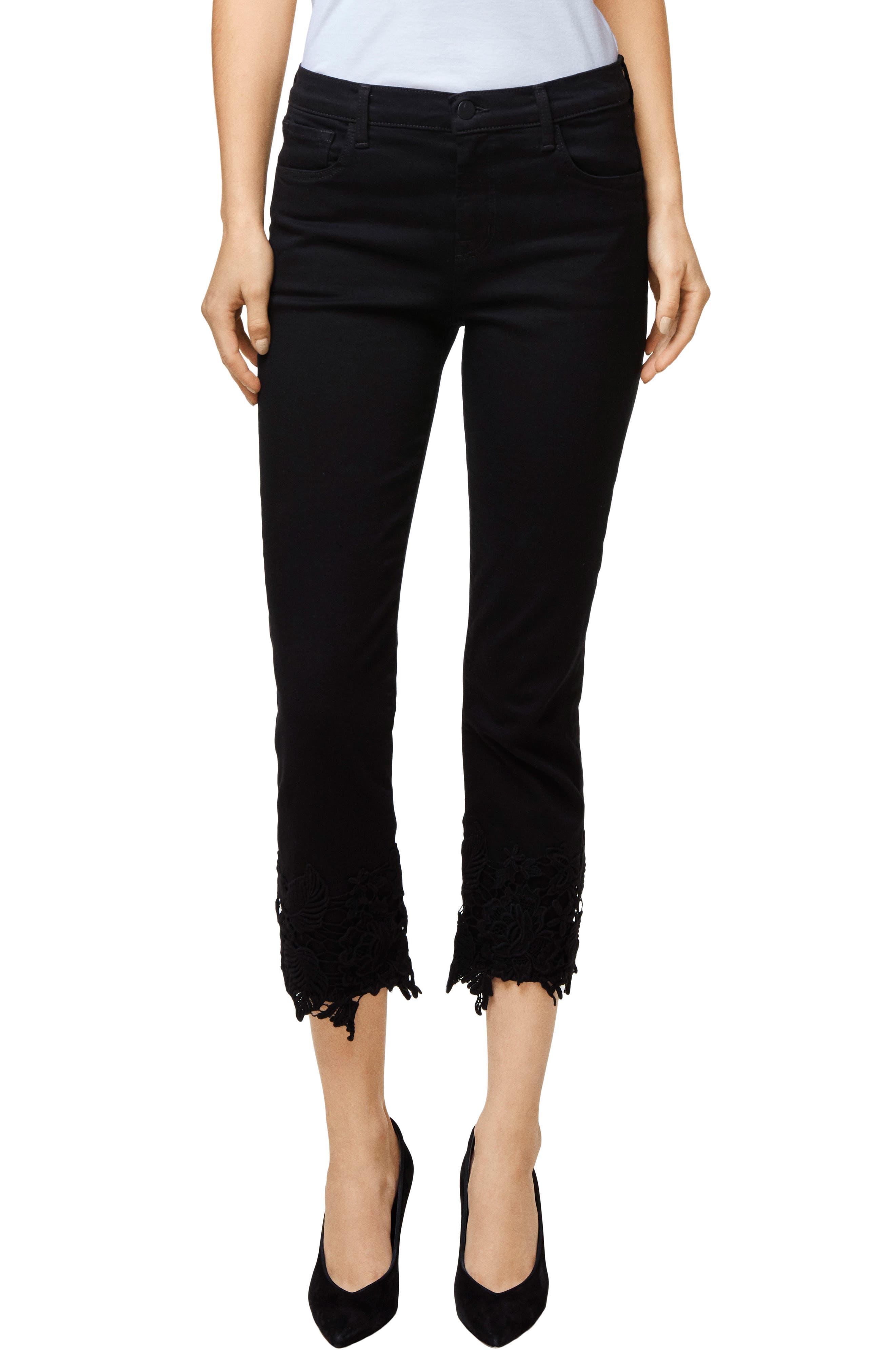 Ruby High Waist Crop Cigarette Jeans,                             Main thumbnail 1, color,                             Black Lace