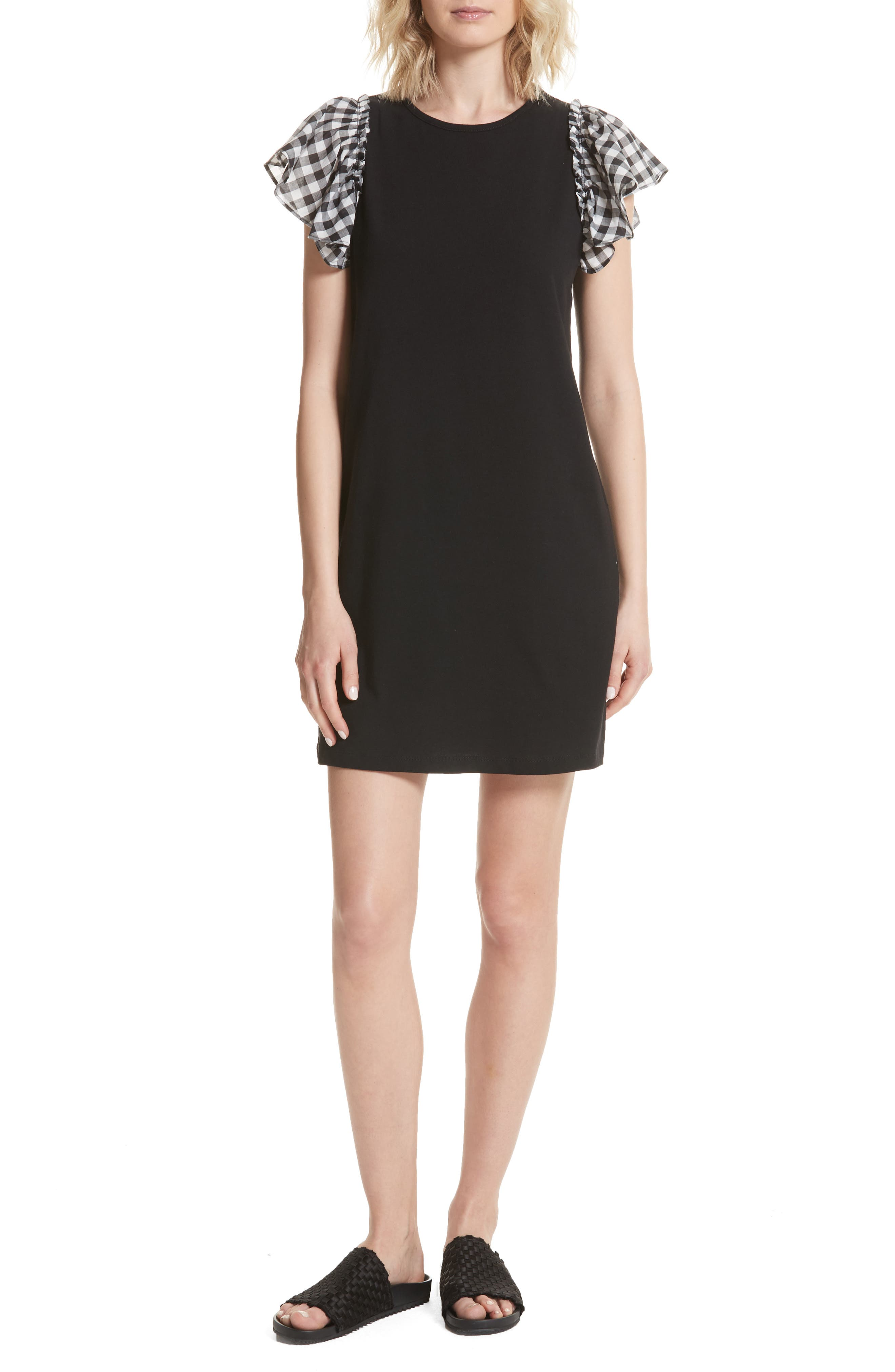 Alternate Image 1 Selected - kate spade new york check sleeve dress
