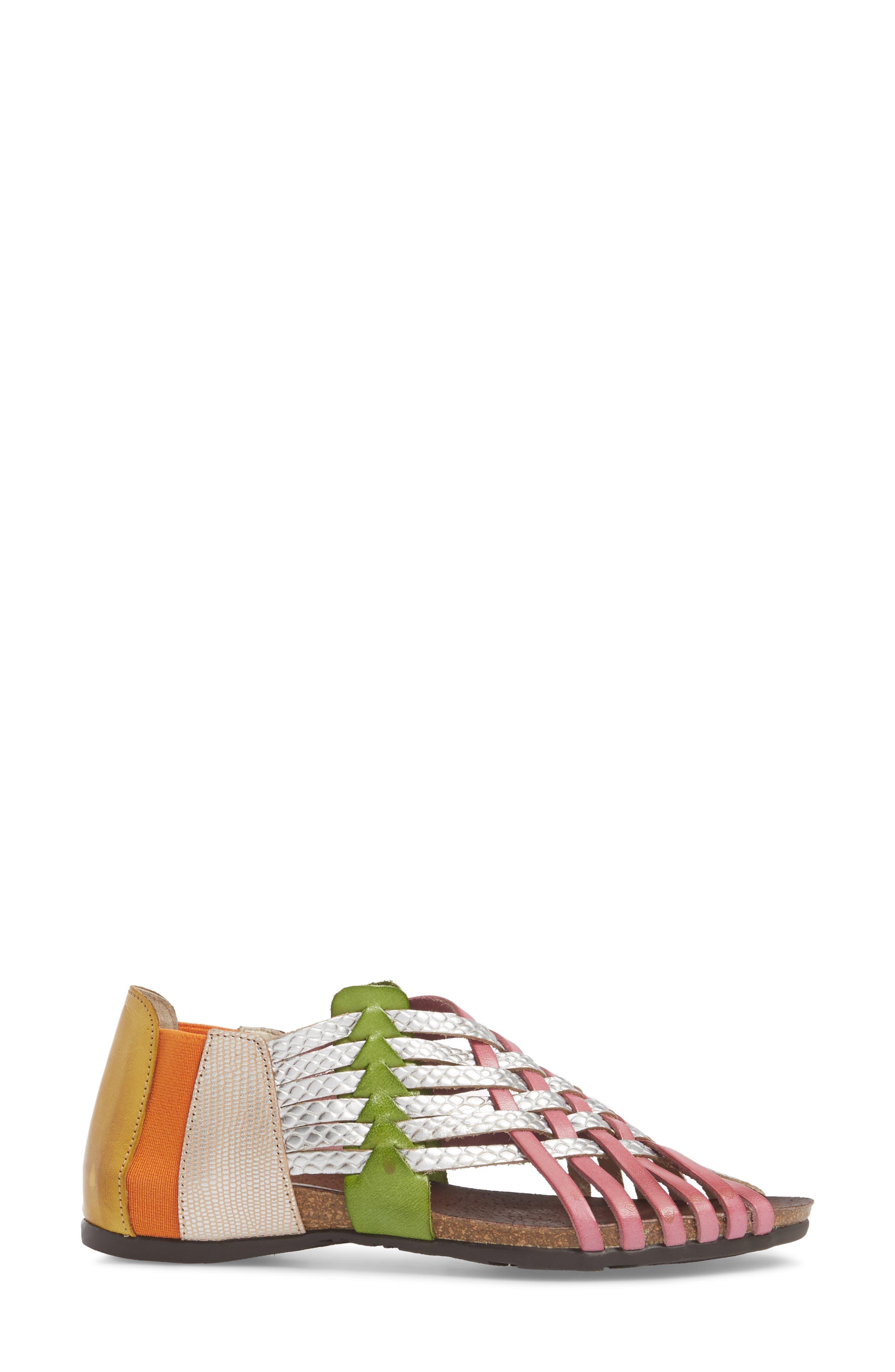 Helena Sandal,                             Alternate thumbnail 3, color,                             Silver Combo Leather