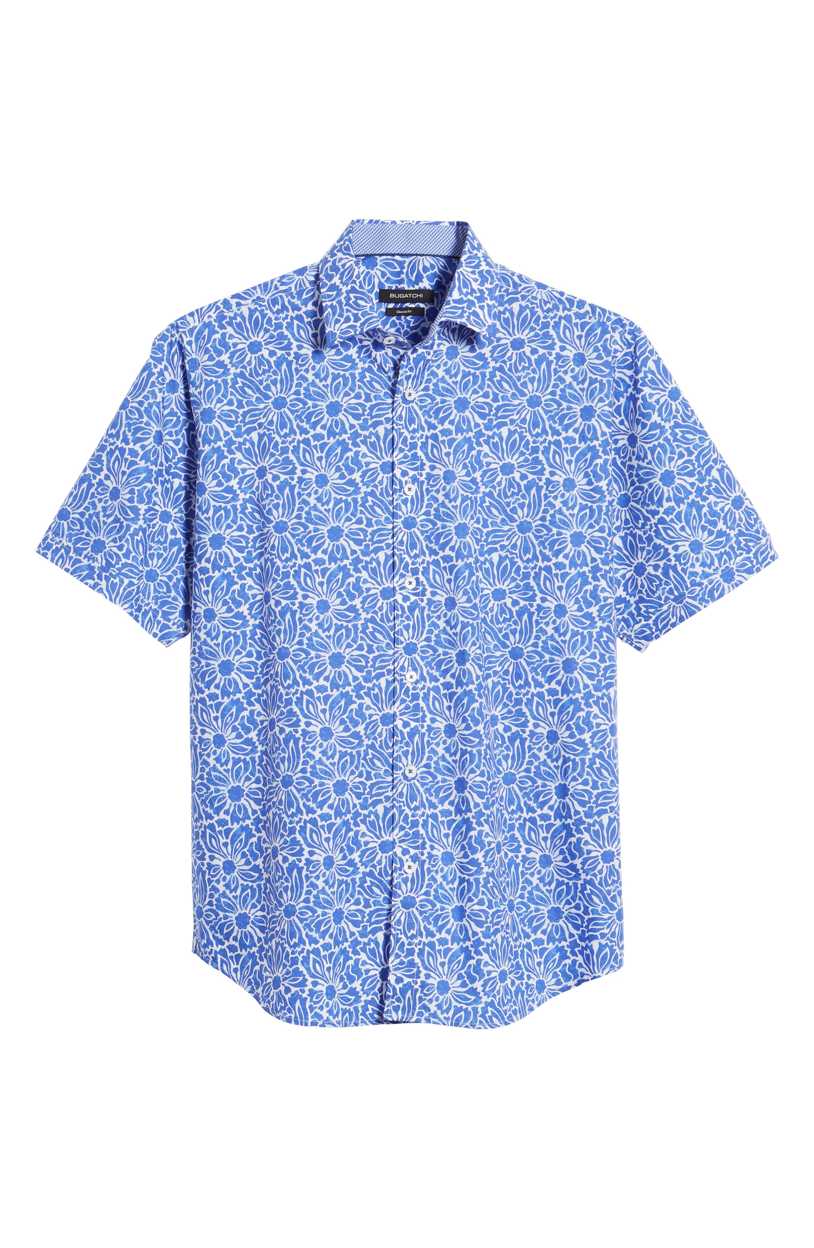 Classic Fit Floral Sport Shirt,                             Alternate thumbnail 6, color,                             Royal