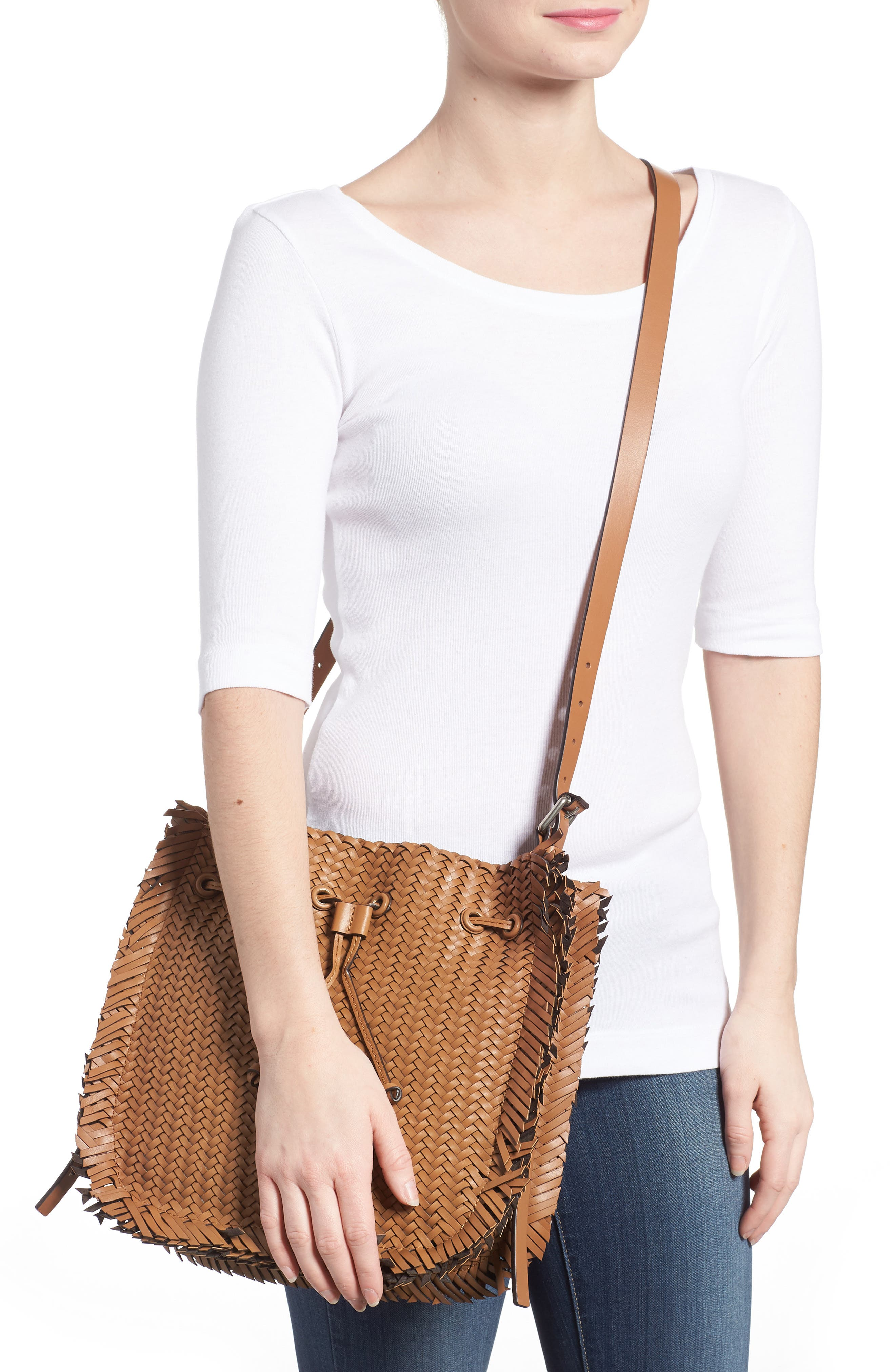 Maldives Woven Frayed Leather Crossbody Bag,                             Alternate thumbnail 2, color,                             Acorn