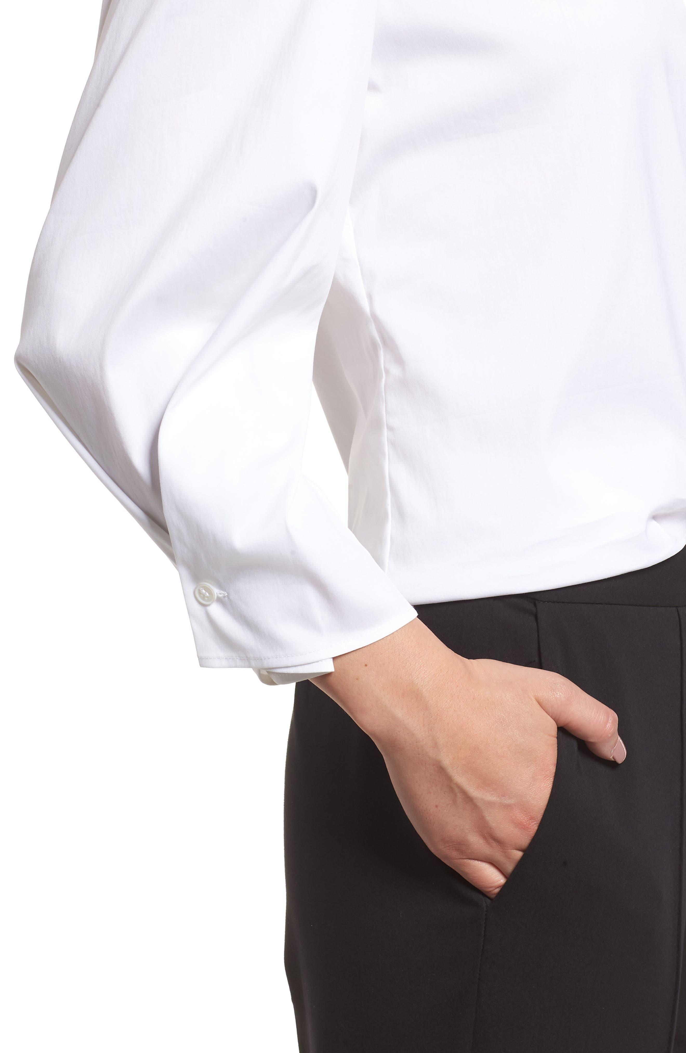 Stretch Poplin Shirt,                             Alternate thumbnail 4, color,                             White