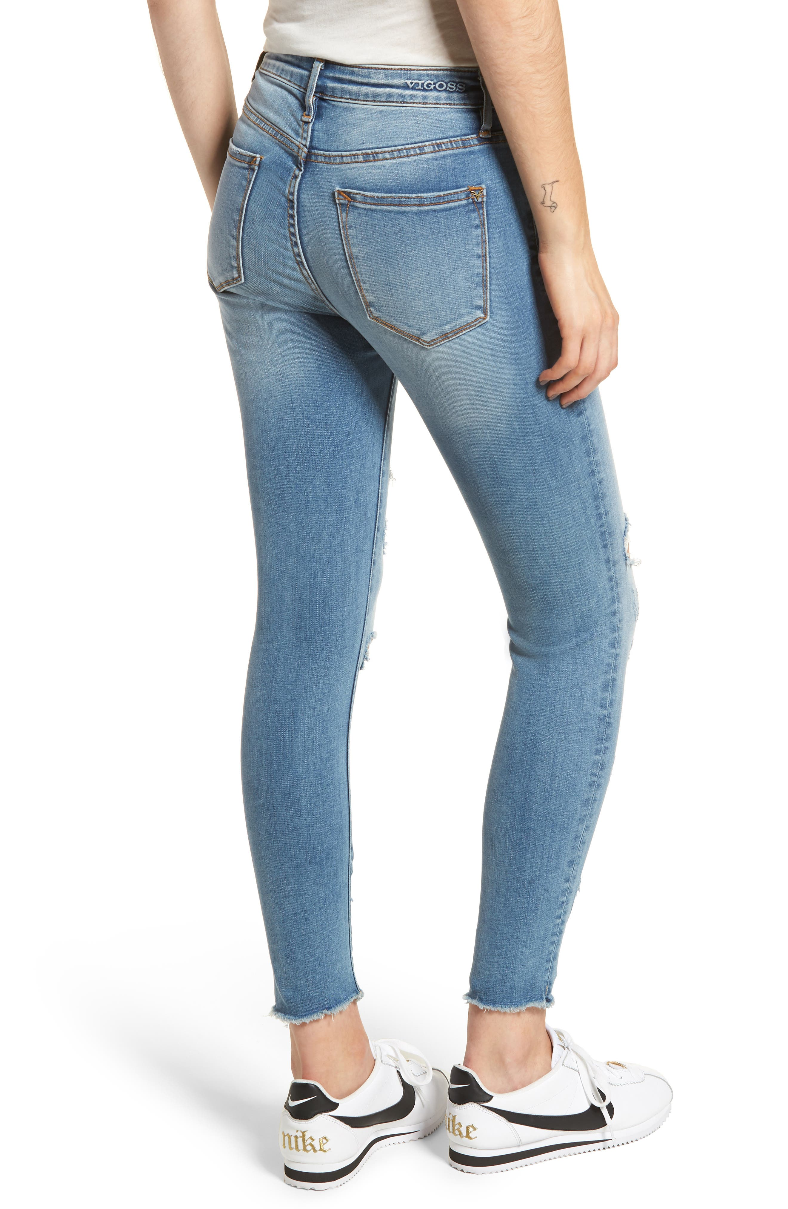 Marley Distressed Skinny Jeans,                             Alternate thumbnail 2, color,                             Medium Wash