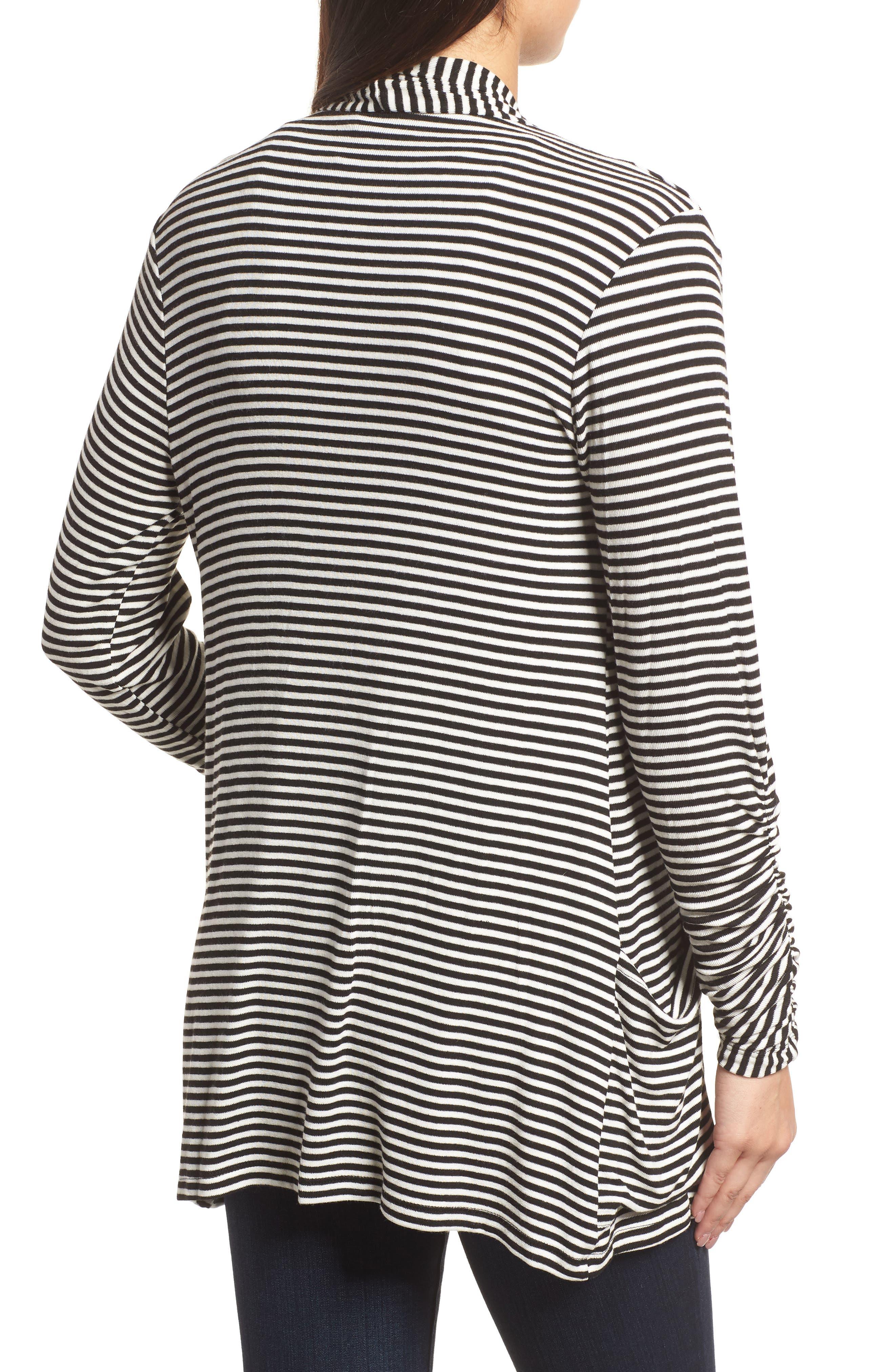 Ruched Sleeve Cardigan,                             Alternate thumbnail 2, color,                             Black/ White Stripe