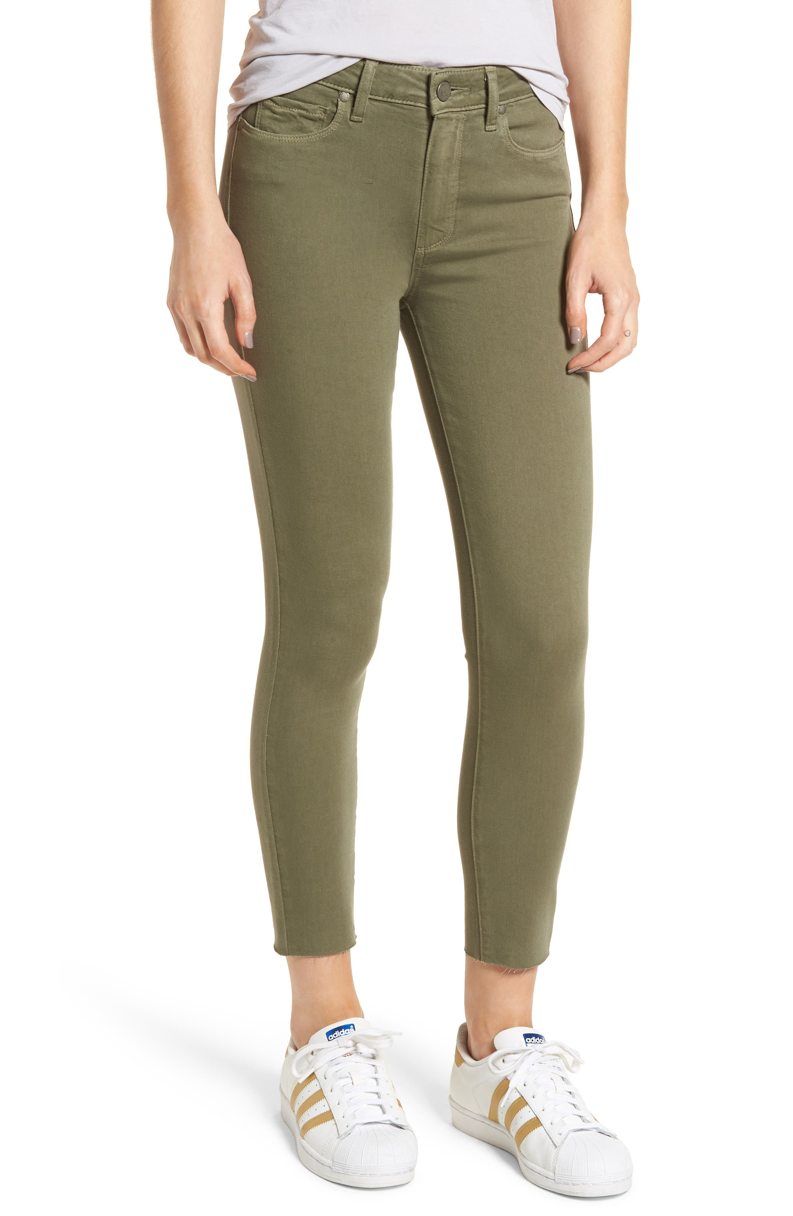 Hoxton High Waist Crop Skinny Jeans,                         Main,                         color, Vintage Green