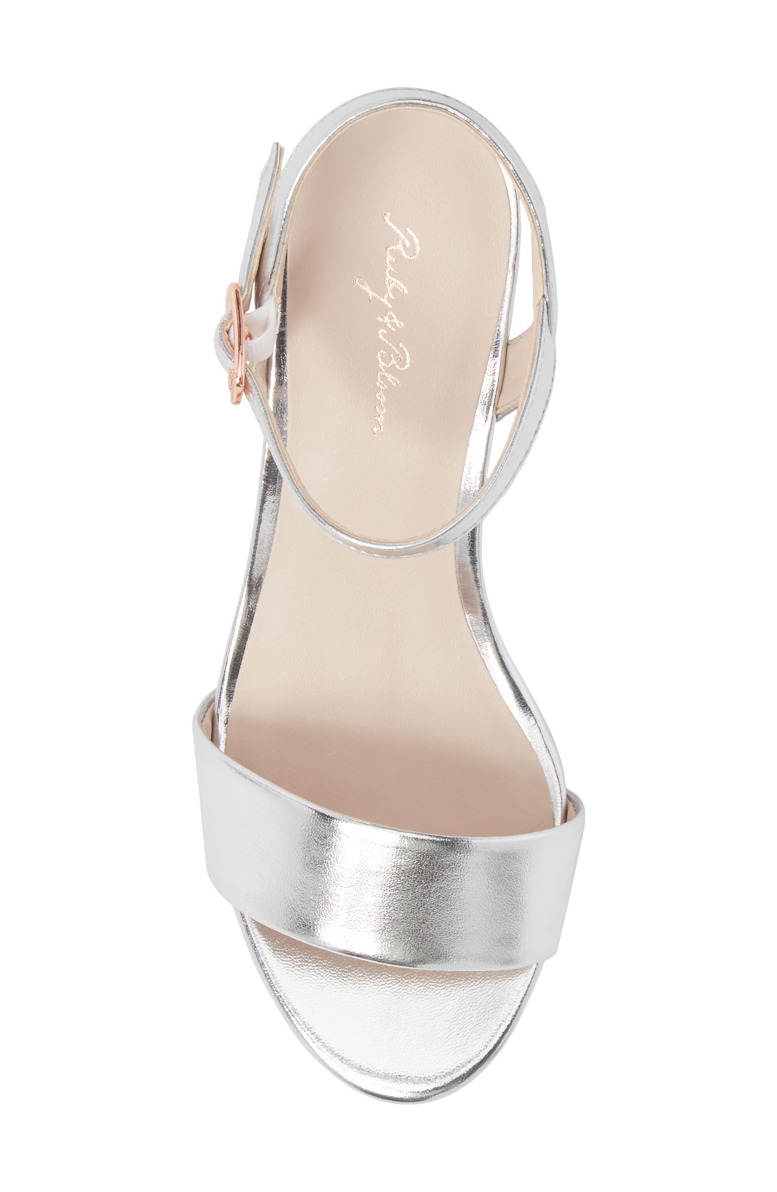 Danni Block Heel Sandal,                             Alternate thumbnail 5, color,                             Silver Faux Leather