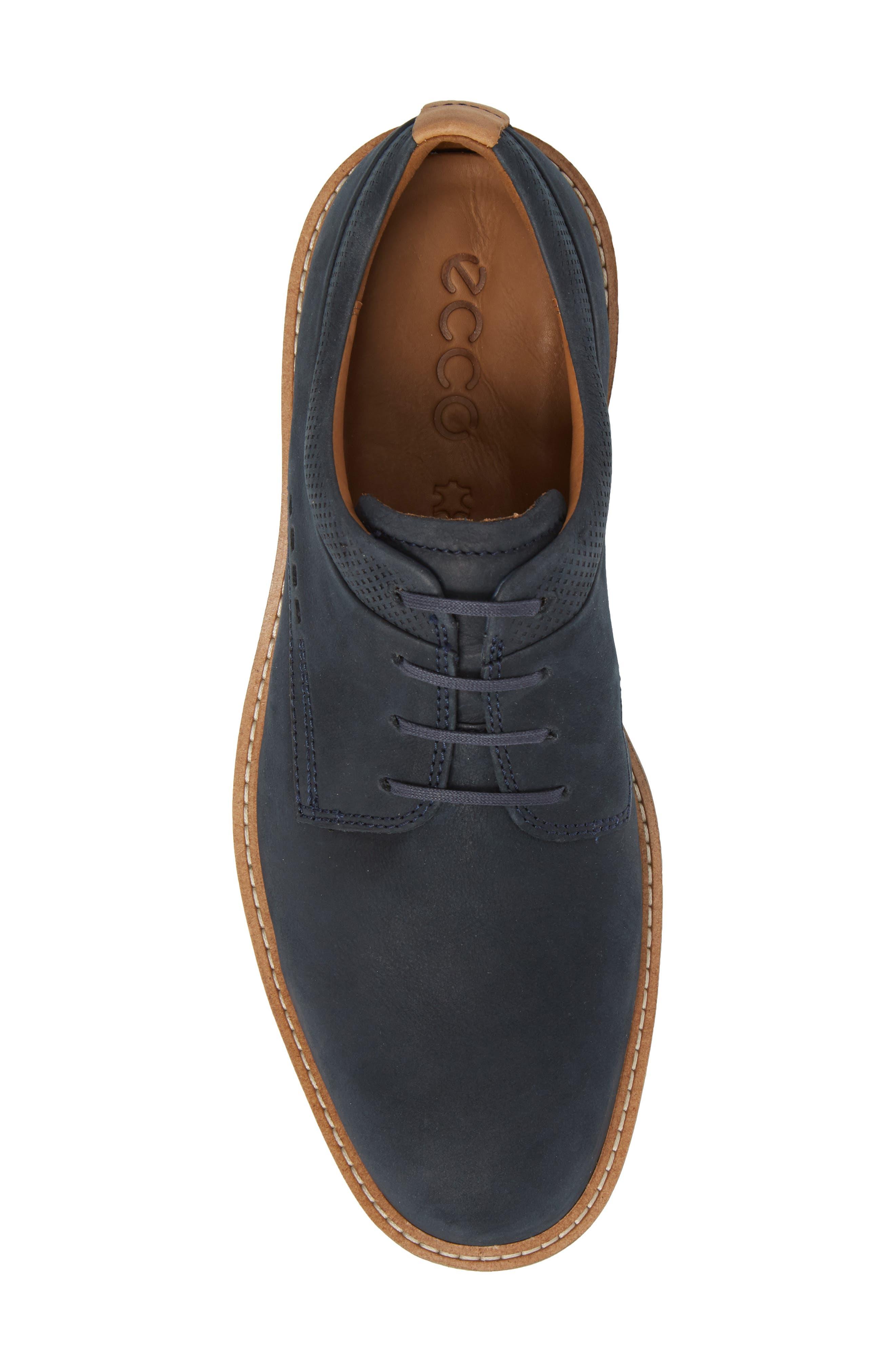 Jeremy Hybrid Plain Toe Derby,                             Alternate thumbnail 4, color,                             Navy Leather