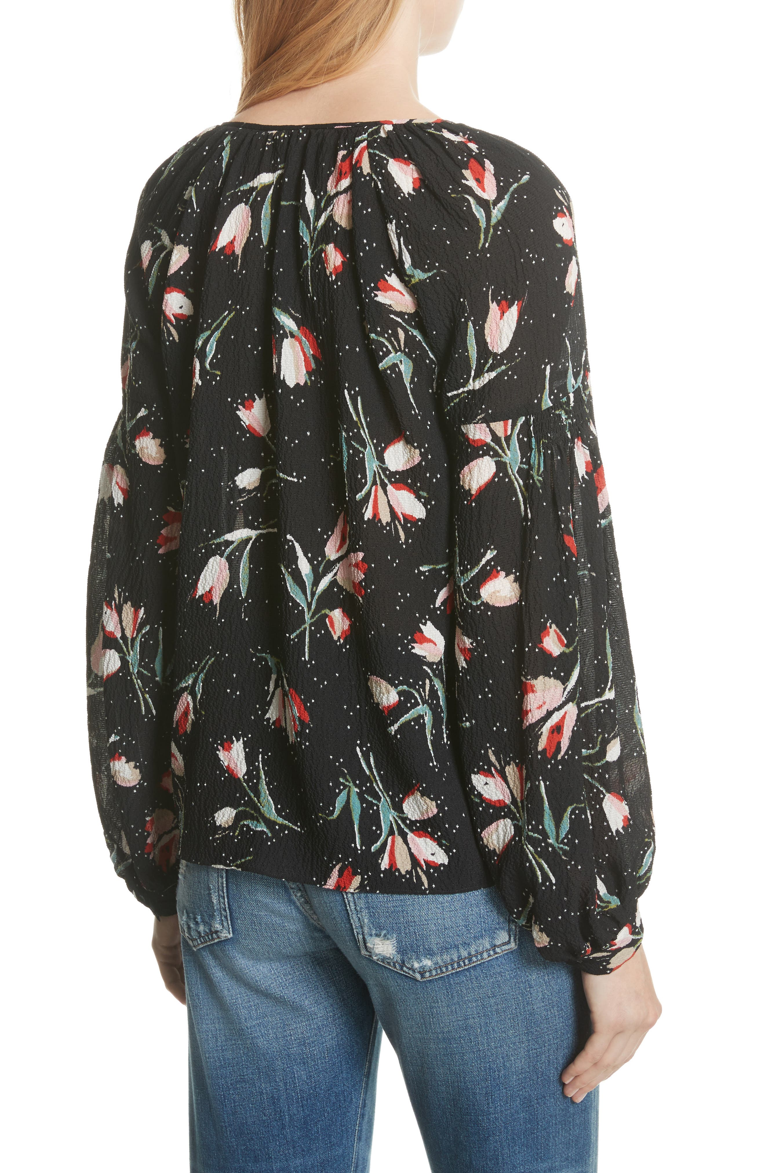 Stretch Silk Floral Top,                             Alternate thumbnail 2, color,                             Black Combo