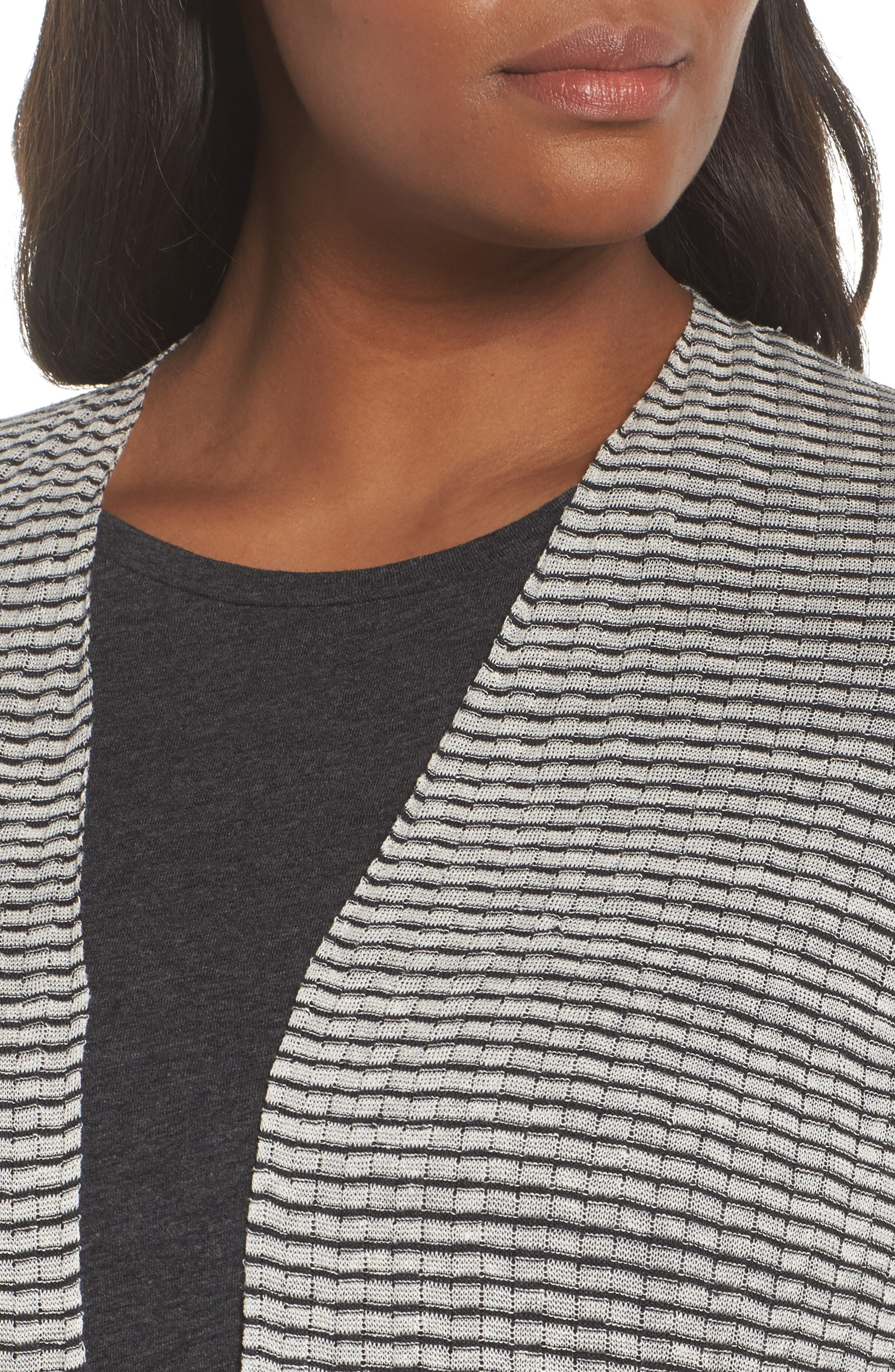 Simple Stripe Linen Blend Cardigan,                             Alternate thumbnail 4, color,                             Graphite/ Bone