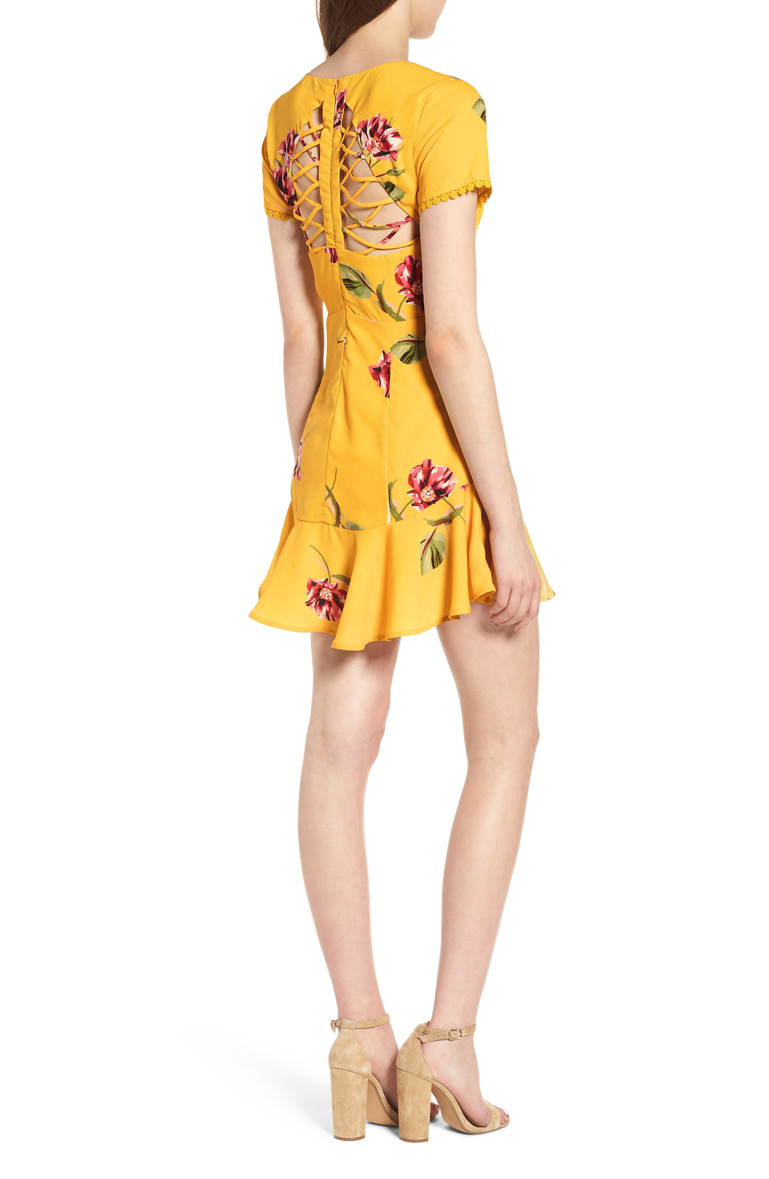 Cutout Fit & Flare Dress,                             Alternate thumbnail 2, color,                             Yellow Floral