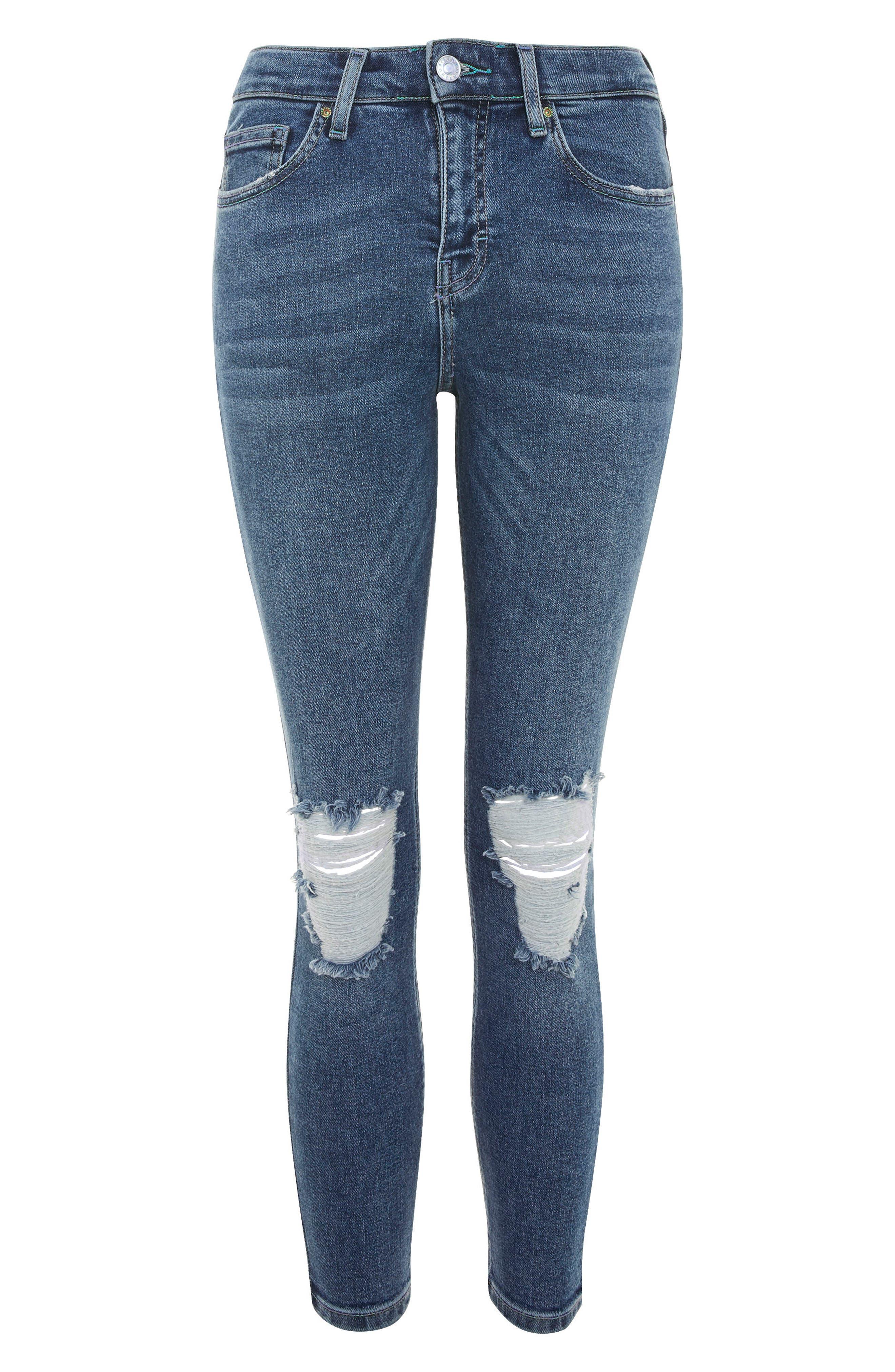 Jamie Petite Ripped Jeans,                             Alternate thumbnail 4, color,                             Mid Denim