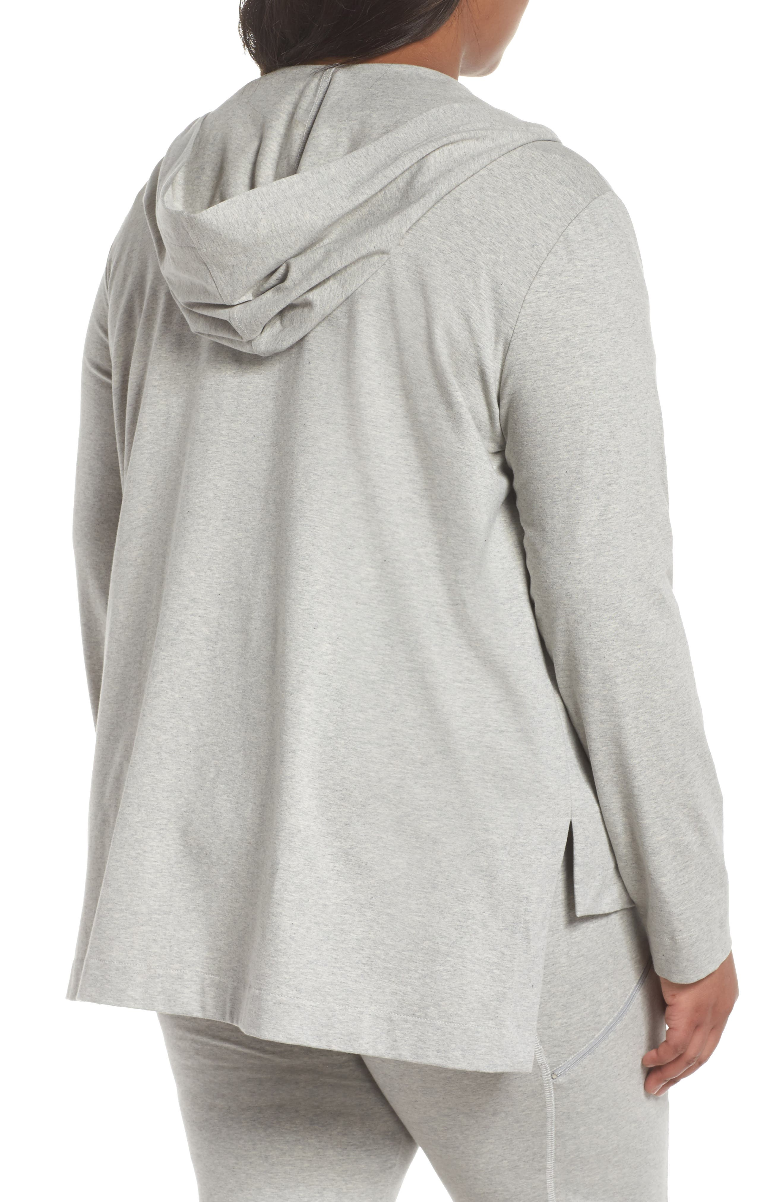 Stretch Organic Cotton Knit Hooded Jacket,                             Alternate thumbnail 2, color,                             Dark Pearl