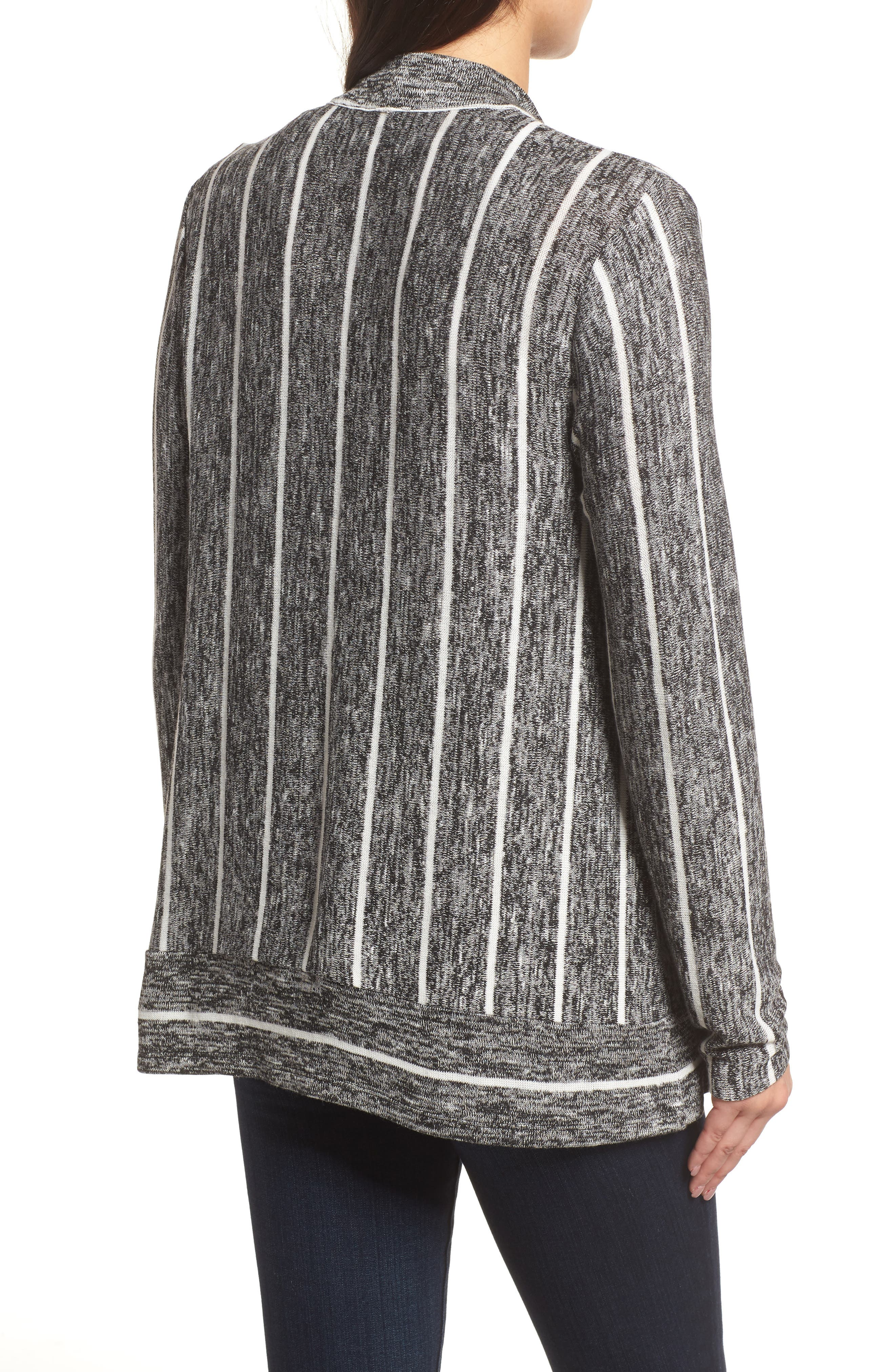 Marled Stripe Open Front Cardigan,                             Alternate thumbnail 2, color,                             060-Rich Black