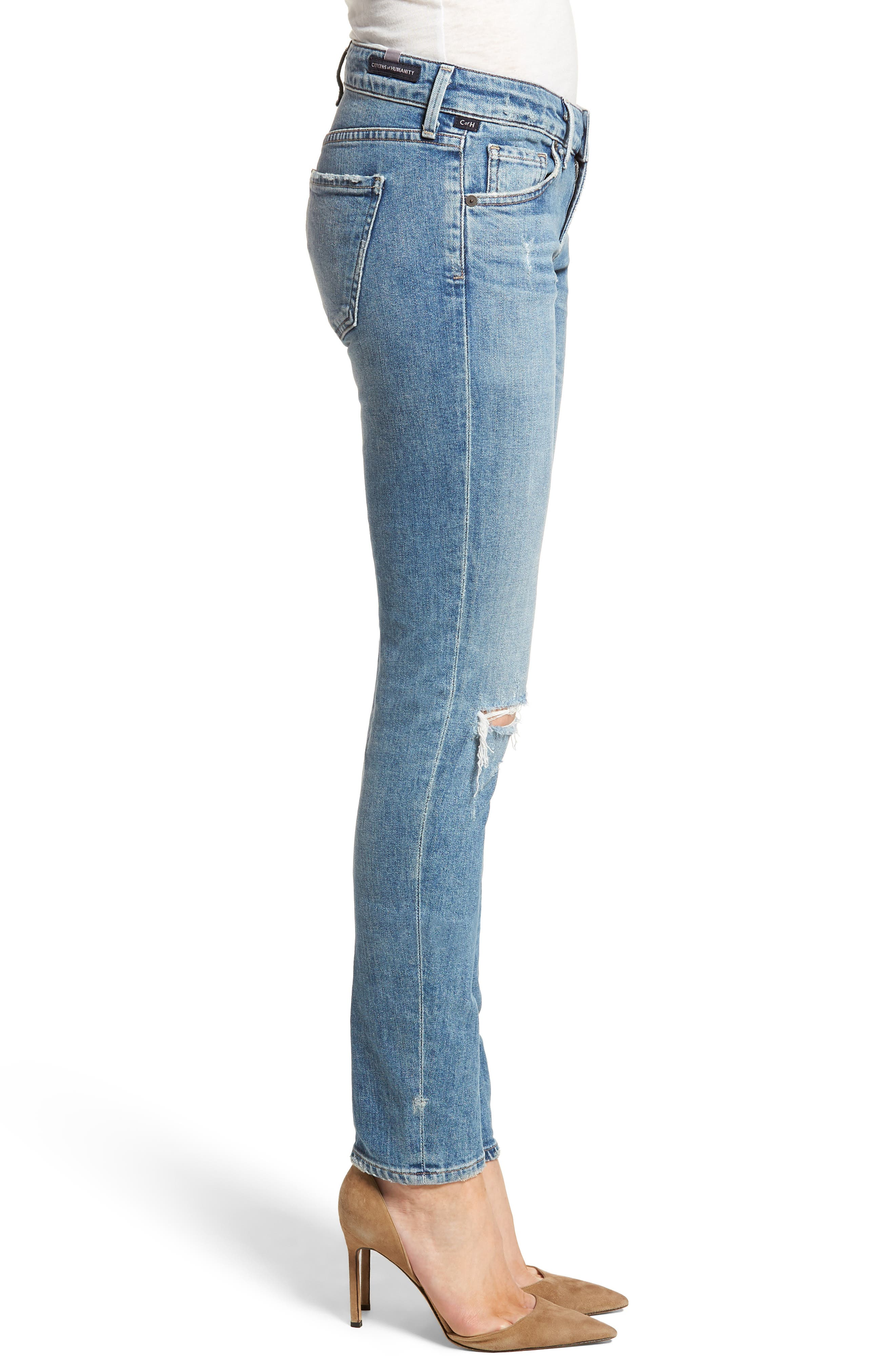 Racer Ripped Skinny Jeans,                             Alternate thumbnail 3, color,                             Distressed Encore