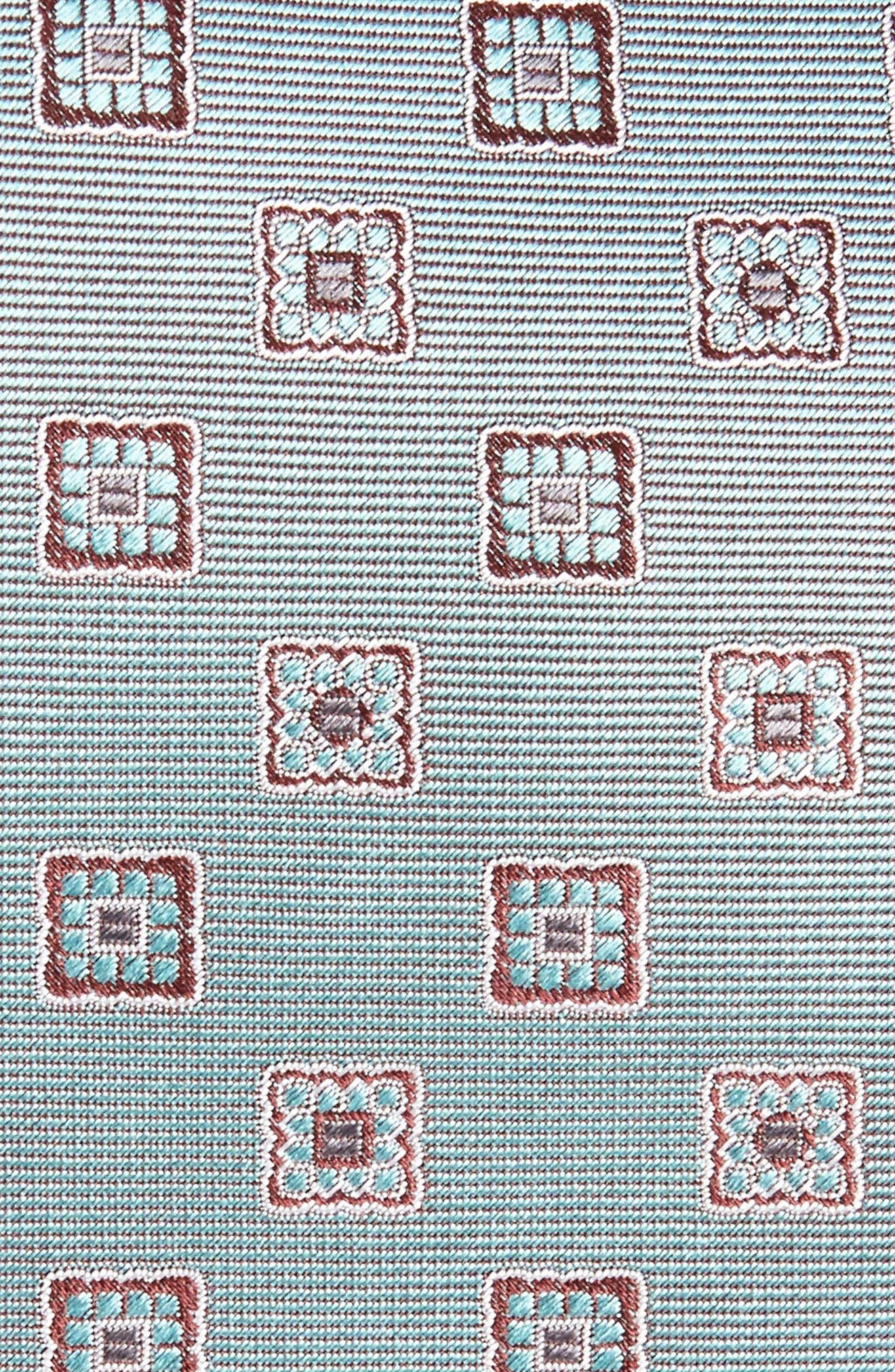Geometric Silk Tie,                             Alternate thumbnail 2, color,                             Bluette/ Brown