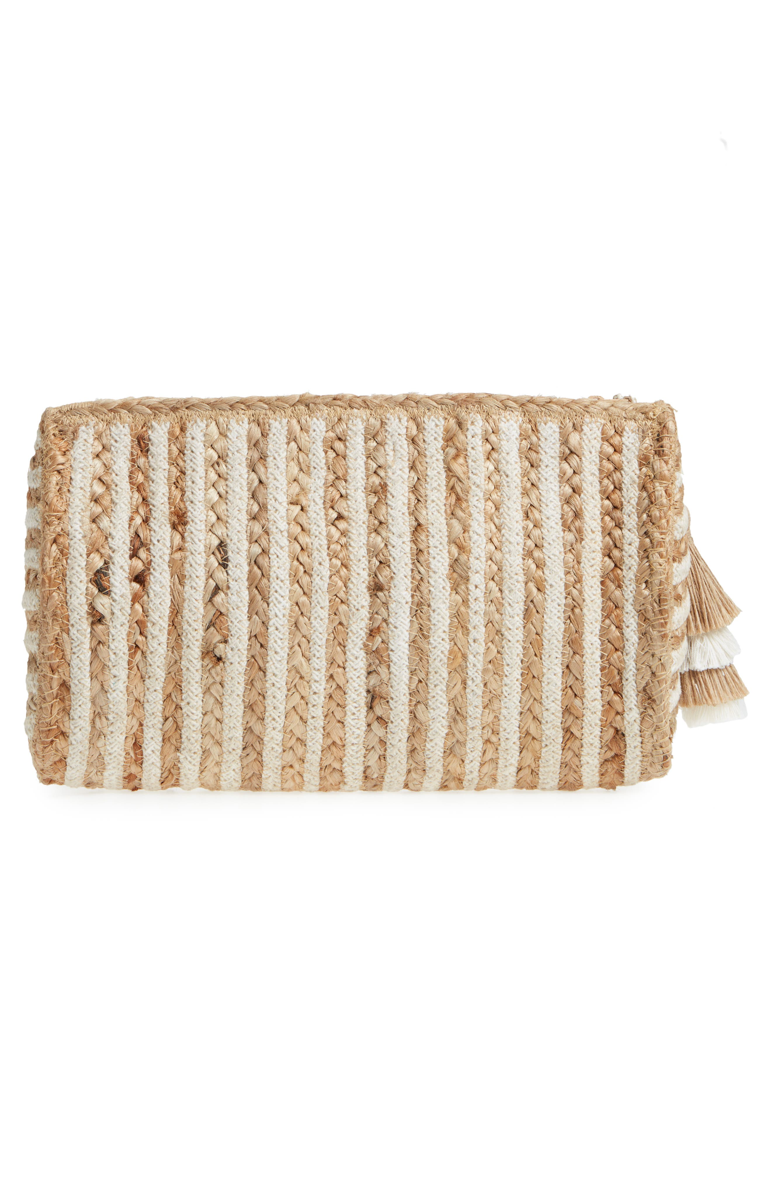 Mare Straw Clutch,                             Alternate thumbnail 3, color,                             Ivory