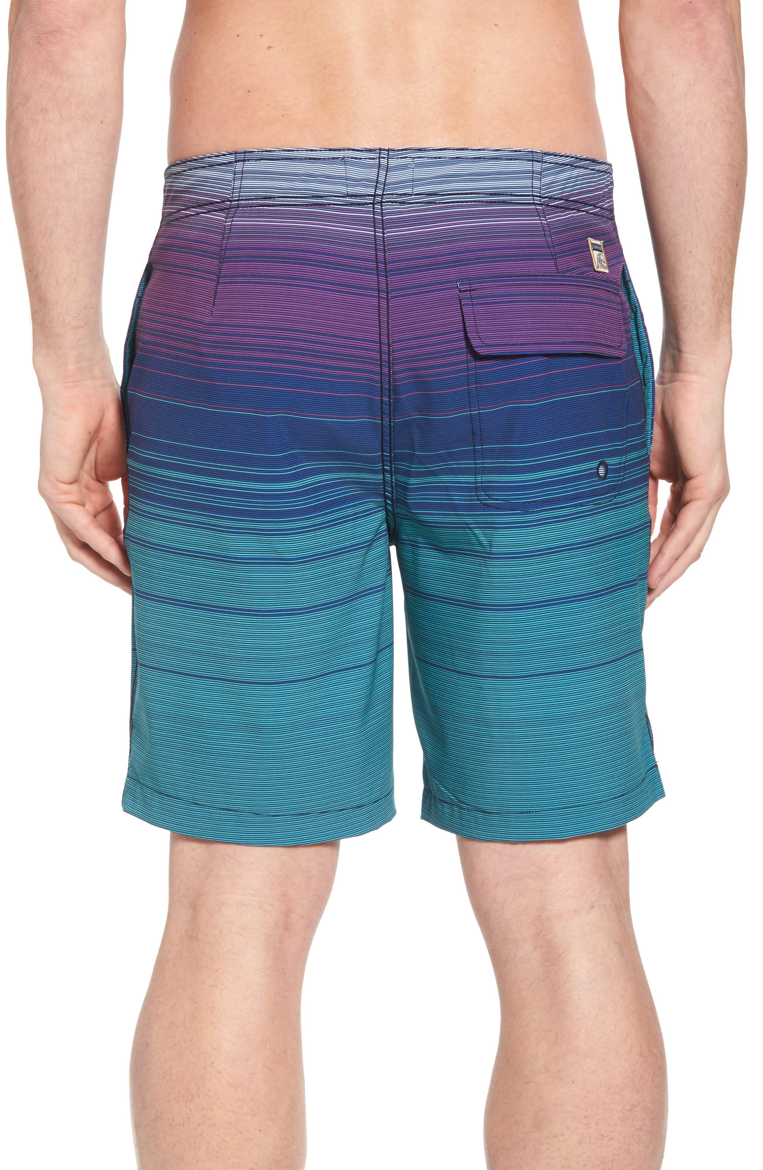 Ombré Stretch Stripe Board Shorts,                             Alternate thumbnail 2, color,                             Silver Pine