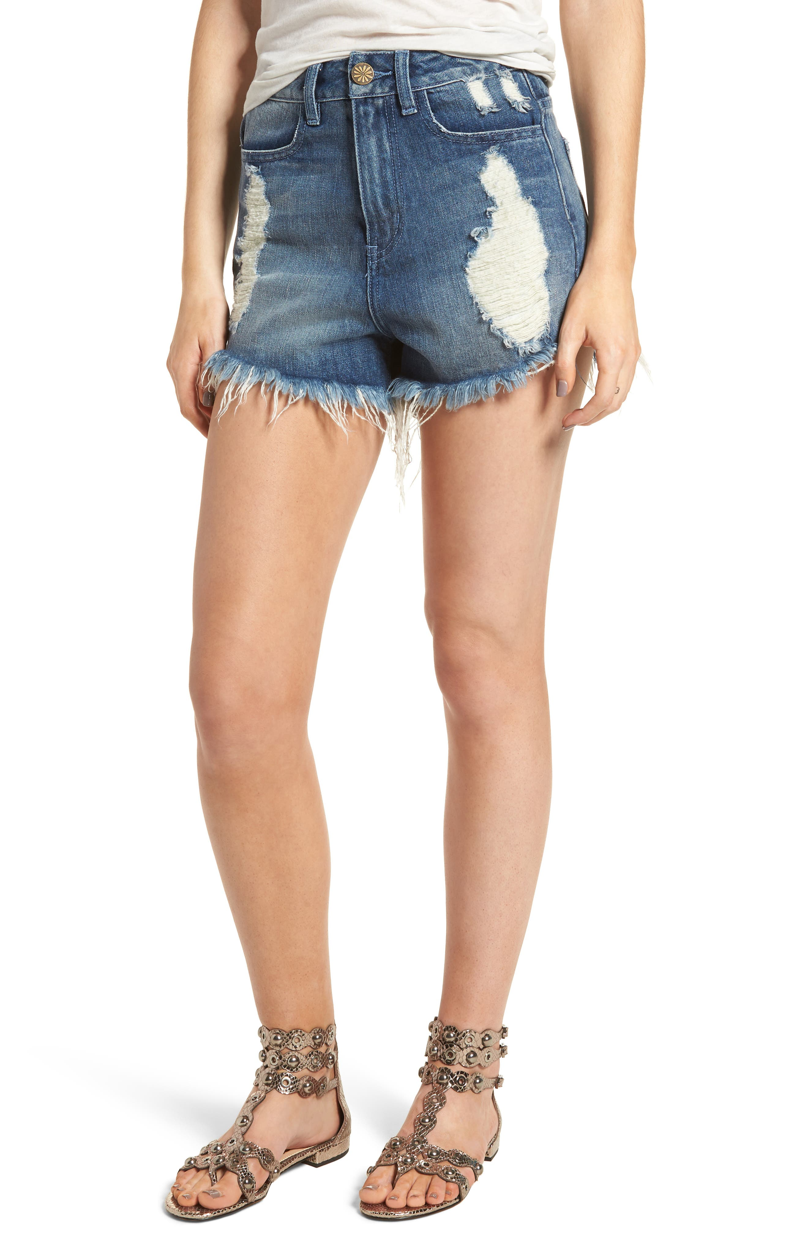 Show Me Your Mumu Wyoming High Waist Cutoff Denim Shorts (Surf)