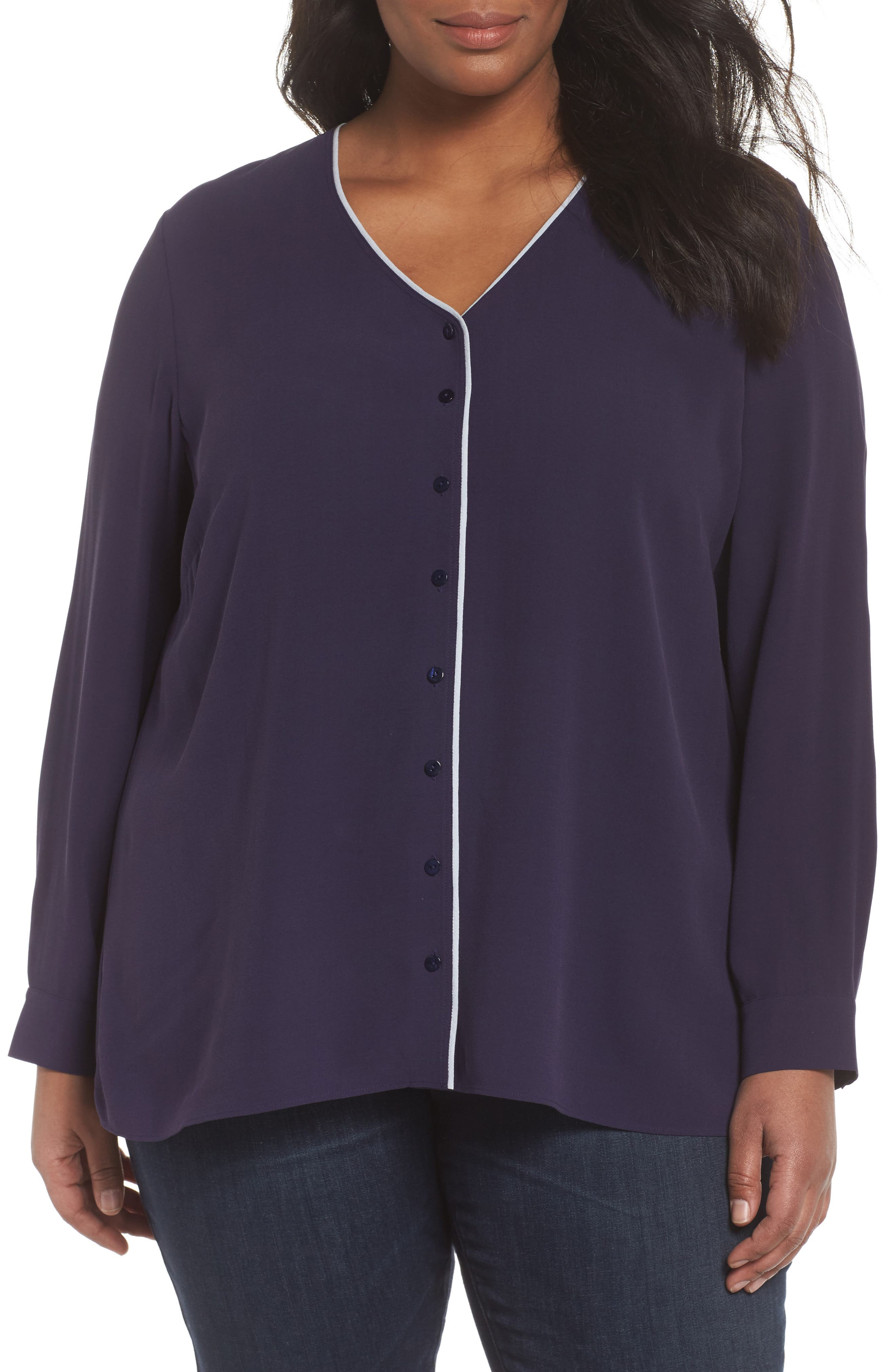 Alternate Image 1 Selected - Eileen Fisher Piping V-Neck Silk Shirt (Plus Size)