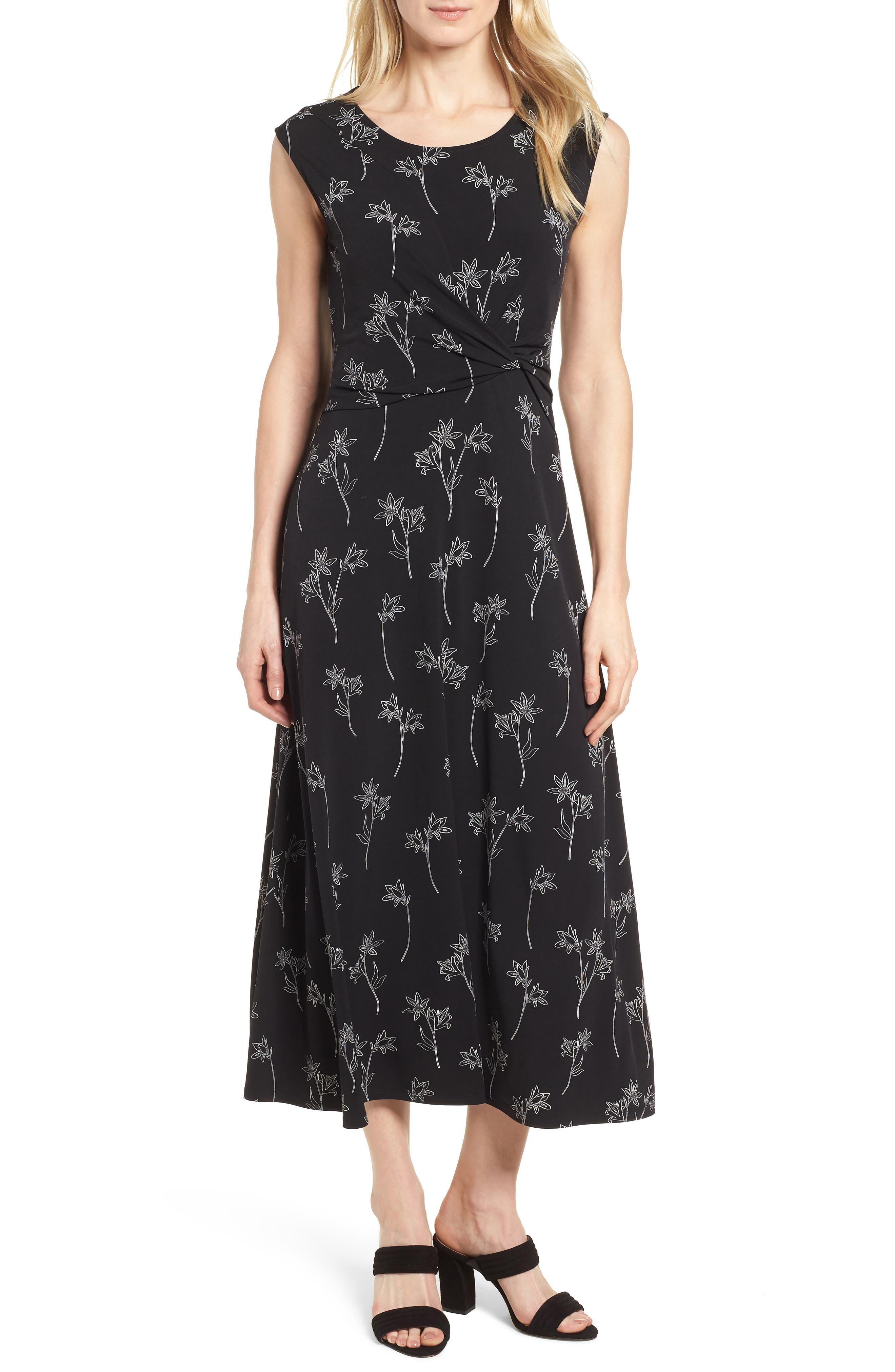 Floral Outlines Knot Front Maxi Dress,                         Main,                         color, 060-Rich Black