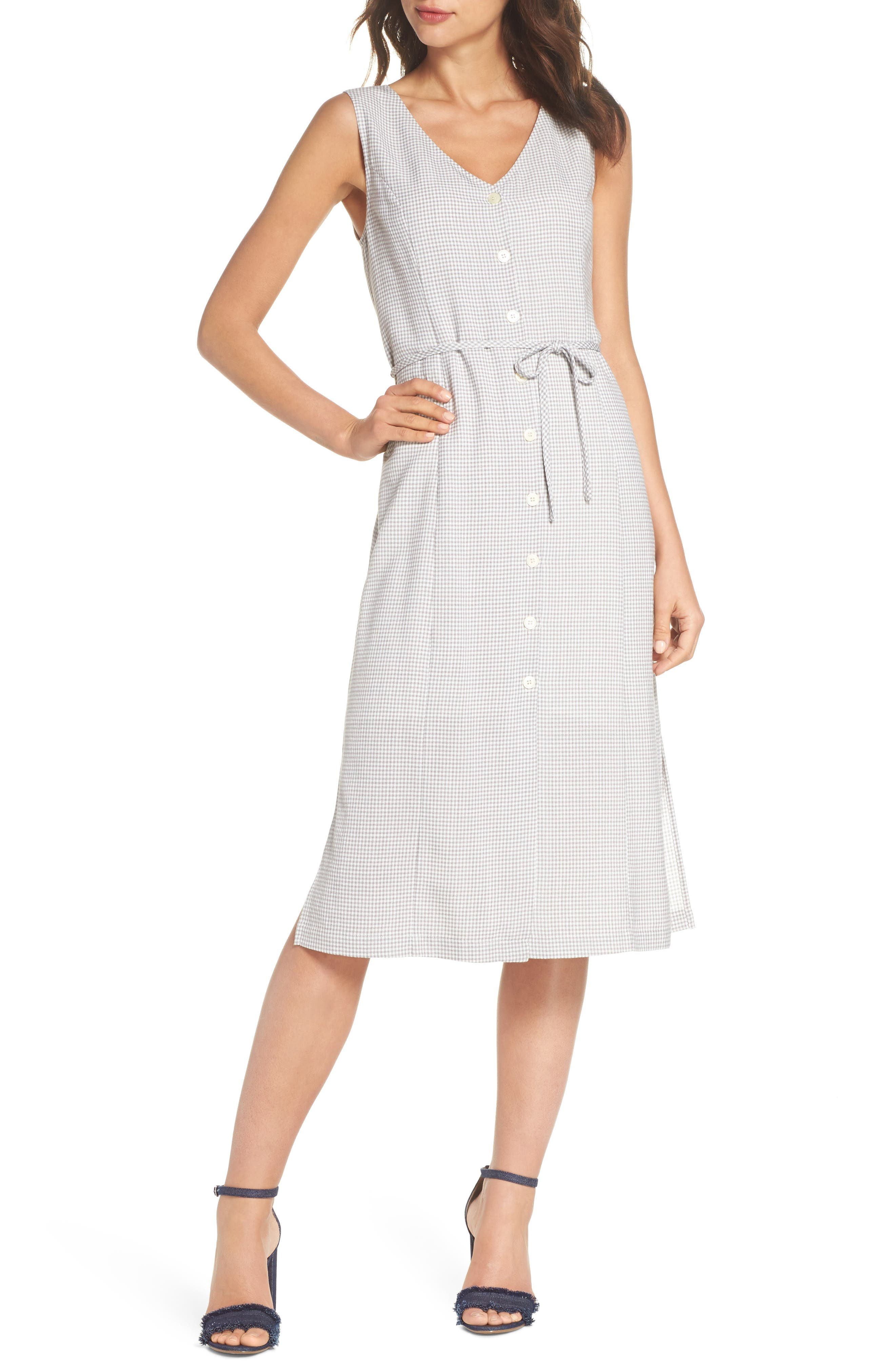 Gingham Midi Dress,                             Main thumbnail 1, color,                             Grey/ White