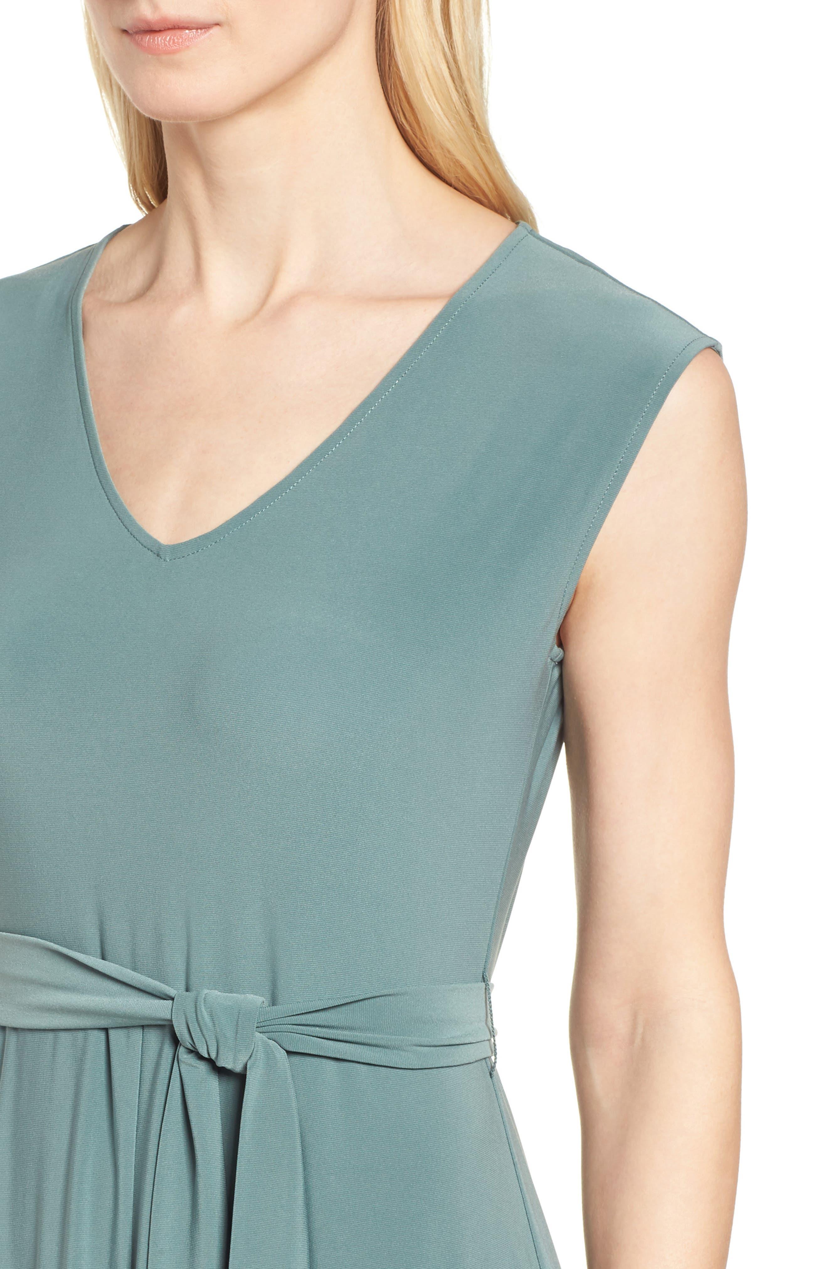 Tie Waist Maxi Dress,                             Alternate thumbnail 4, color,                             738-Tropic Moss