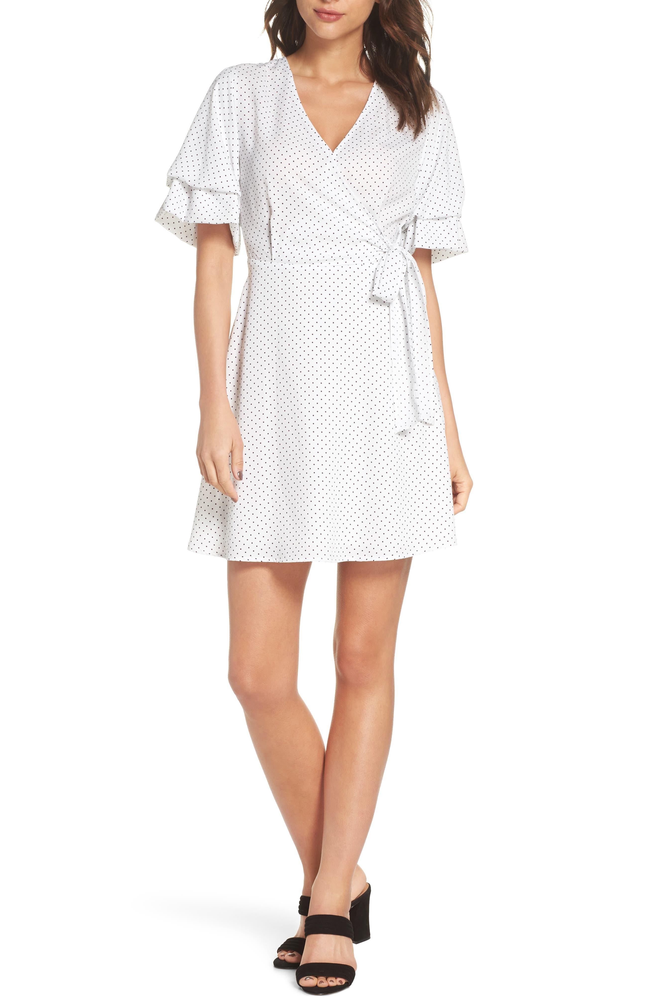 Polka Dot Faux Wrap Dress,                         Main,                         color, White/ Black