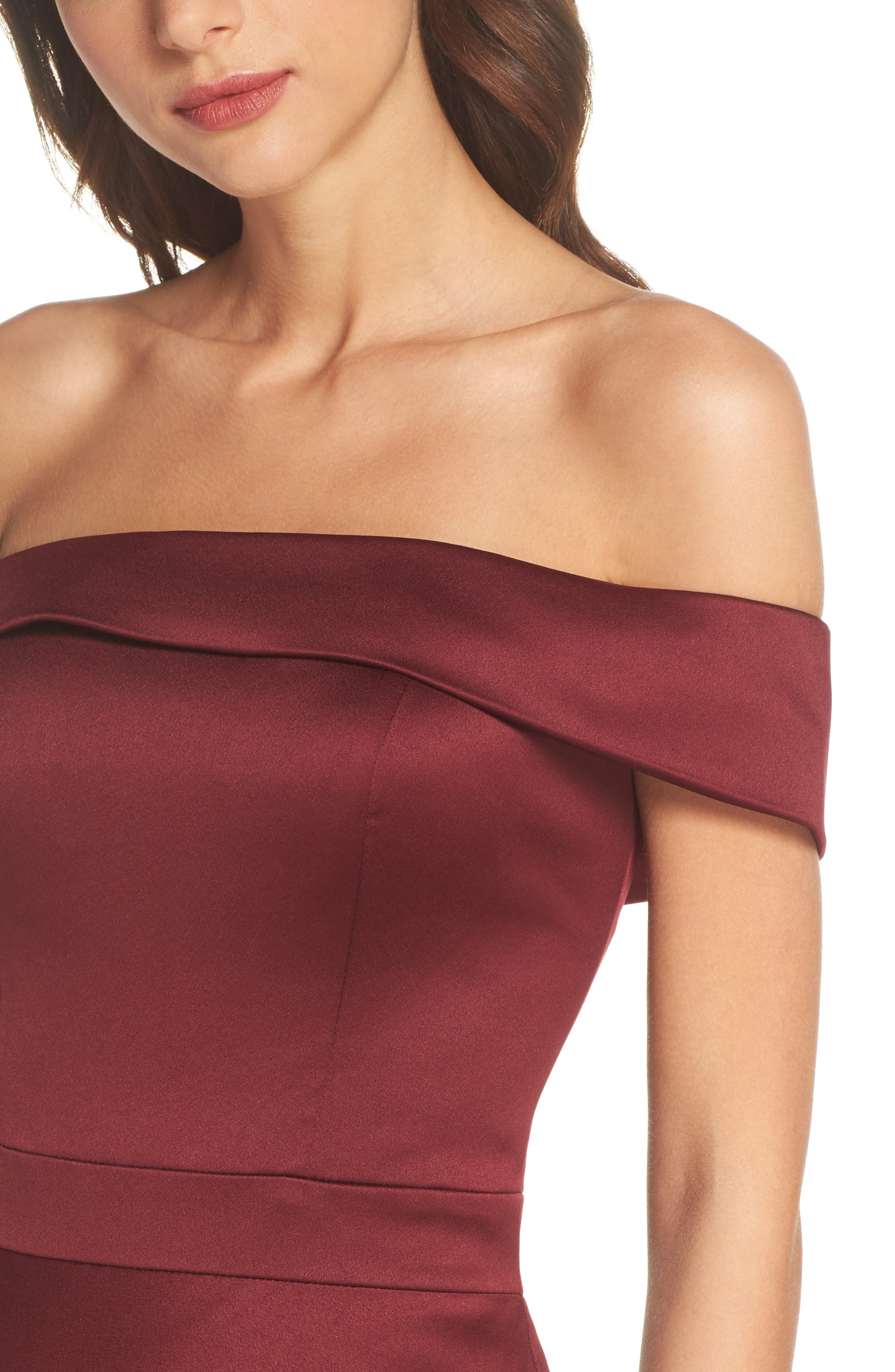 Alternate Image 4  - La Femme Satin Off the Shoulder Gown