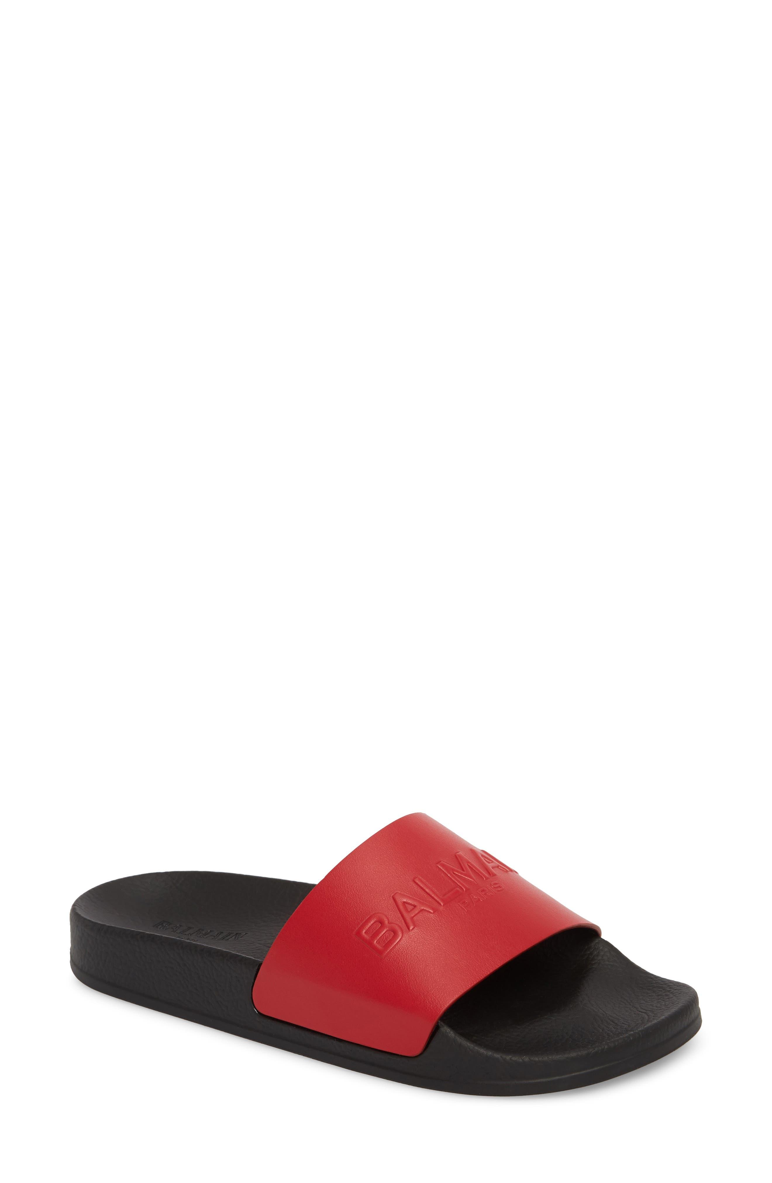 Alternate Image 1 Selected - Balmain Calypso Logo Strap Slide Sandal (Women)