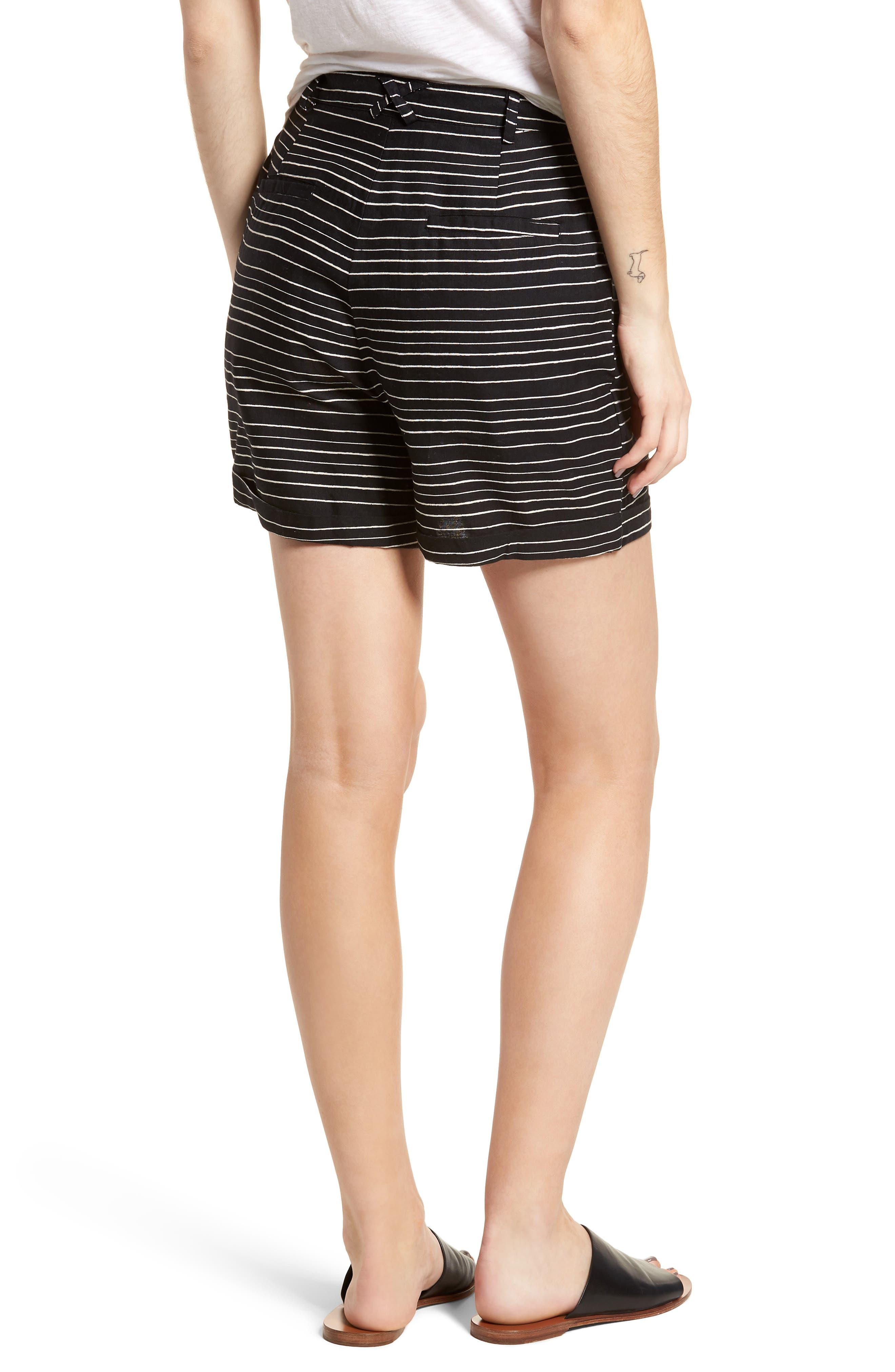 Pin-Up Linen Blend Shorts,                             Alternate thumbnail 2, color,                             Black