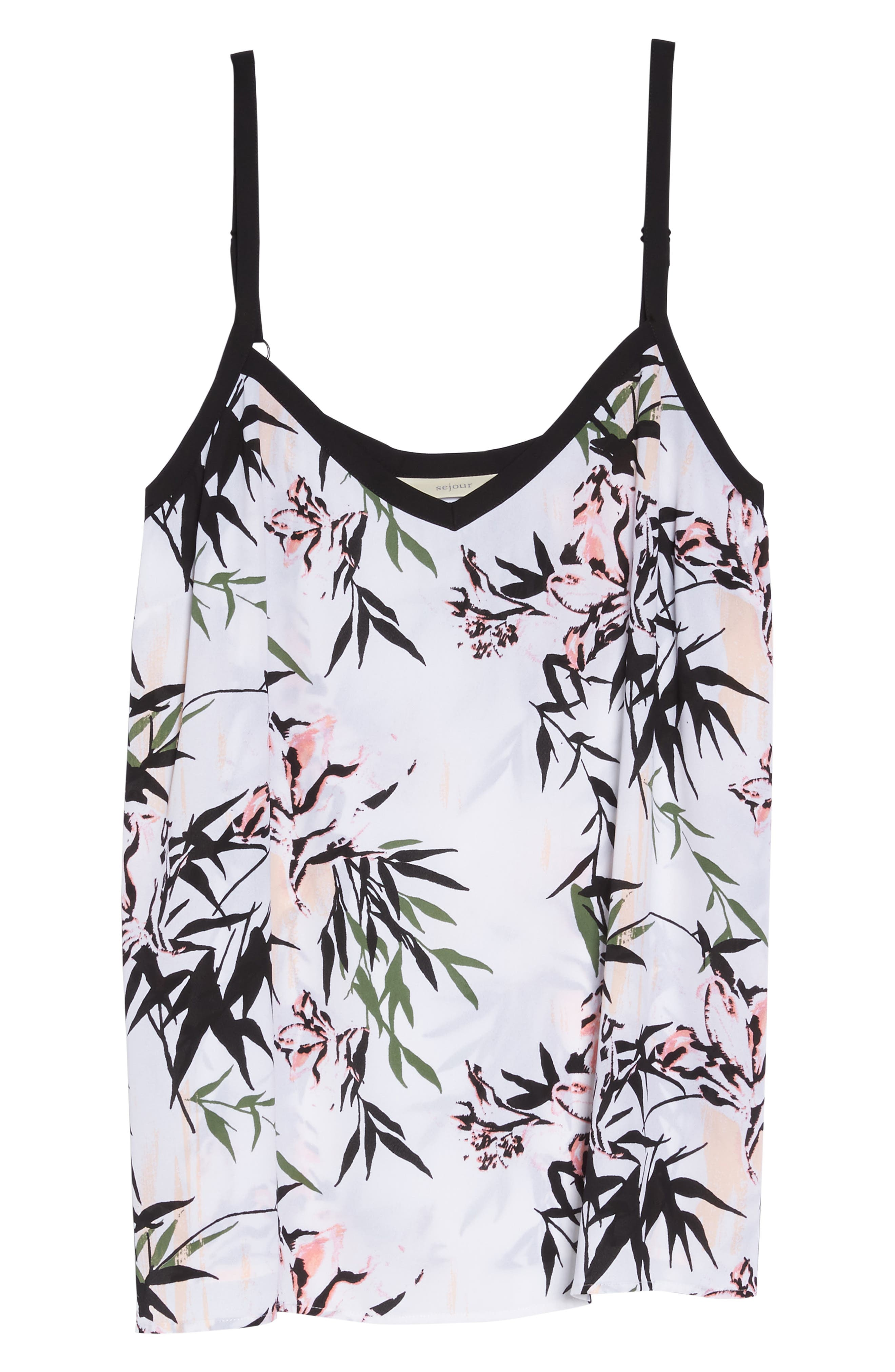 Swing Camisole,                             Alternate thumbnail 7, color,                             White- Pink Bamboo Print