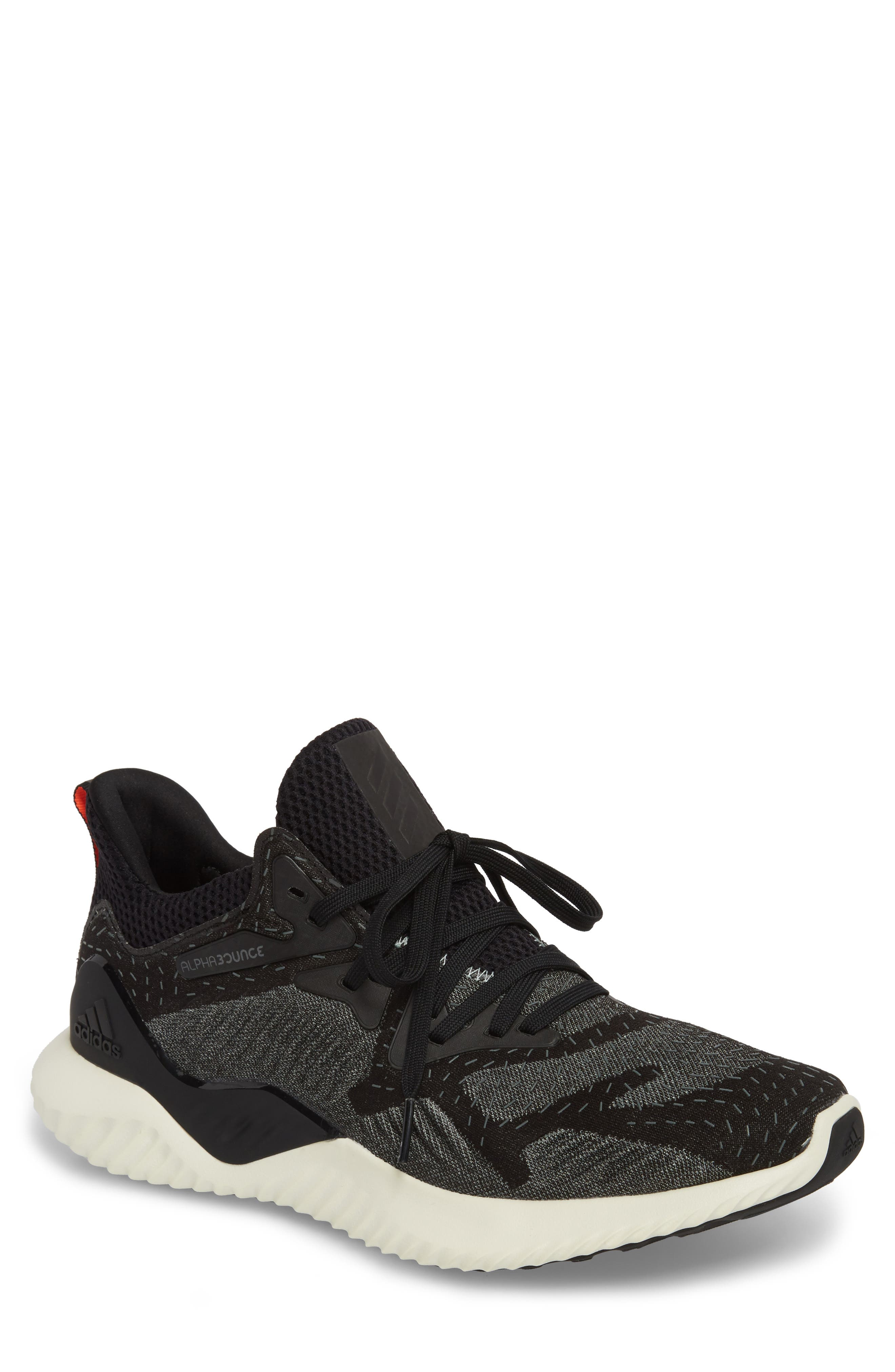 AlphaBounce Beyond Knit Running Shoe,                         Main,                         color, Core Black/ Ash Green
