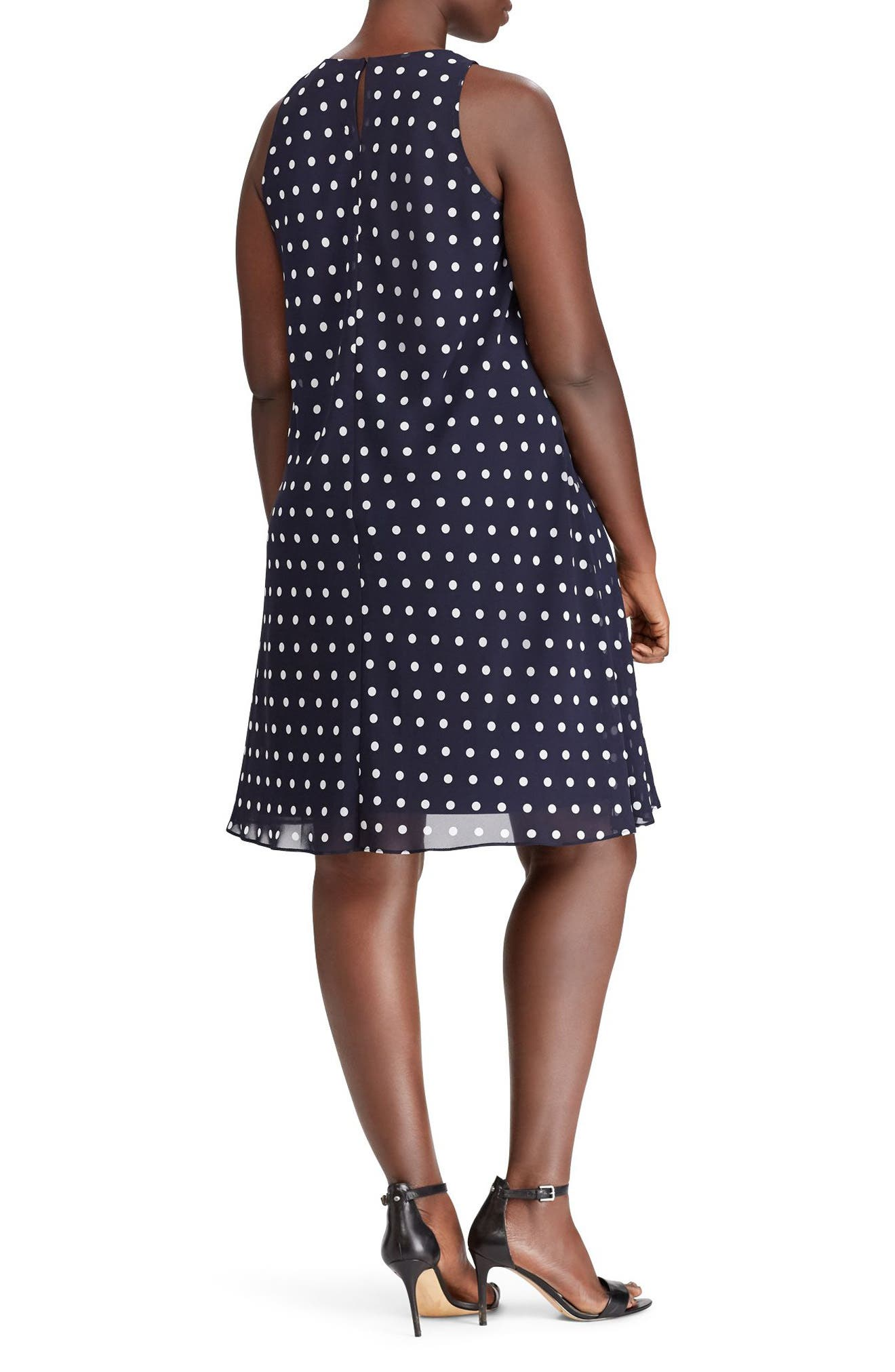 Alternate Image 2  - Lauren Ralph Lauren Polka Dot Dress (Plus Size)