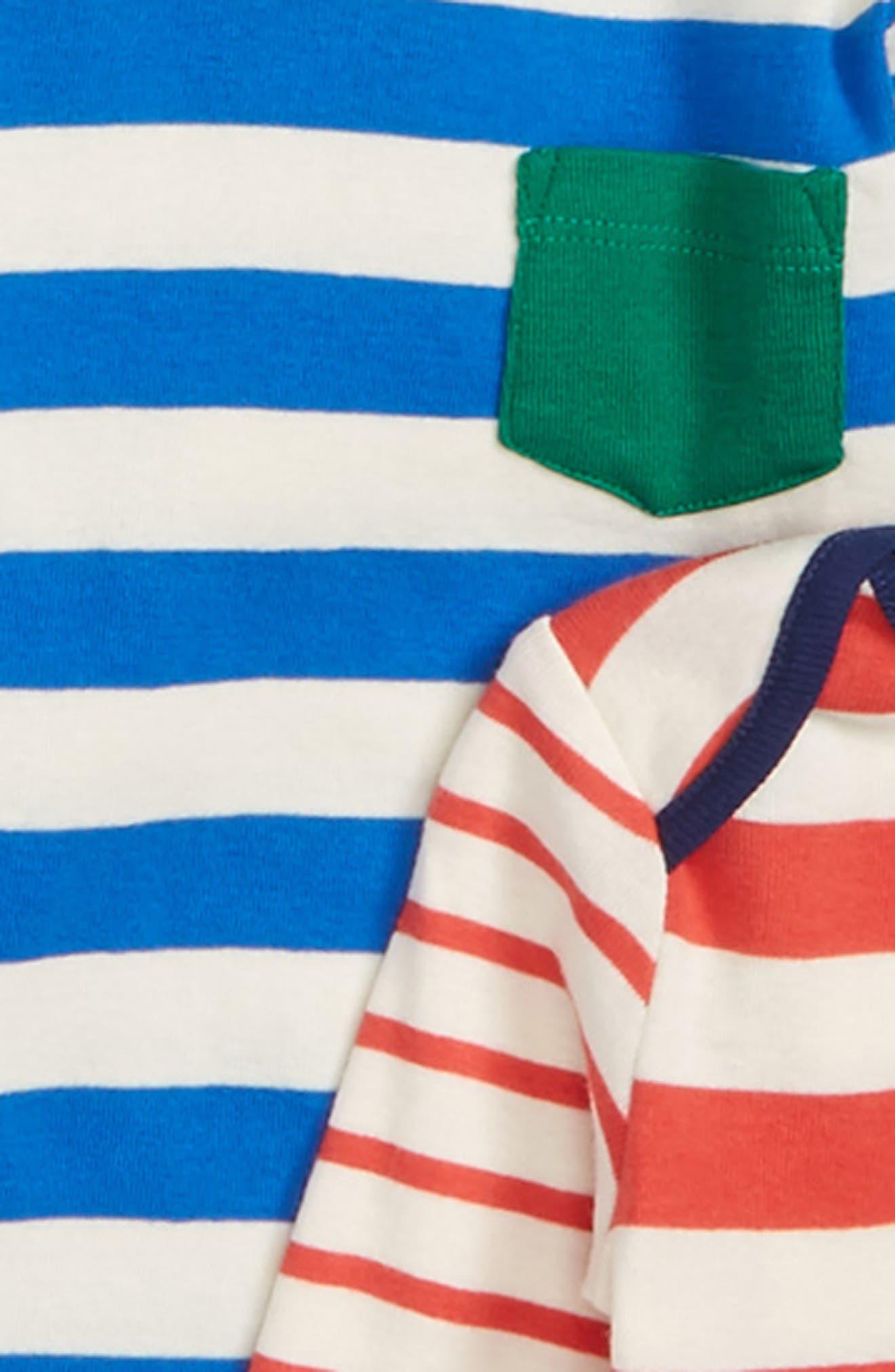 Stripy 5-Pack Cotton Bodysuits,                             Alternate thumbnail 2, color,                             Multi Stripes