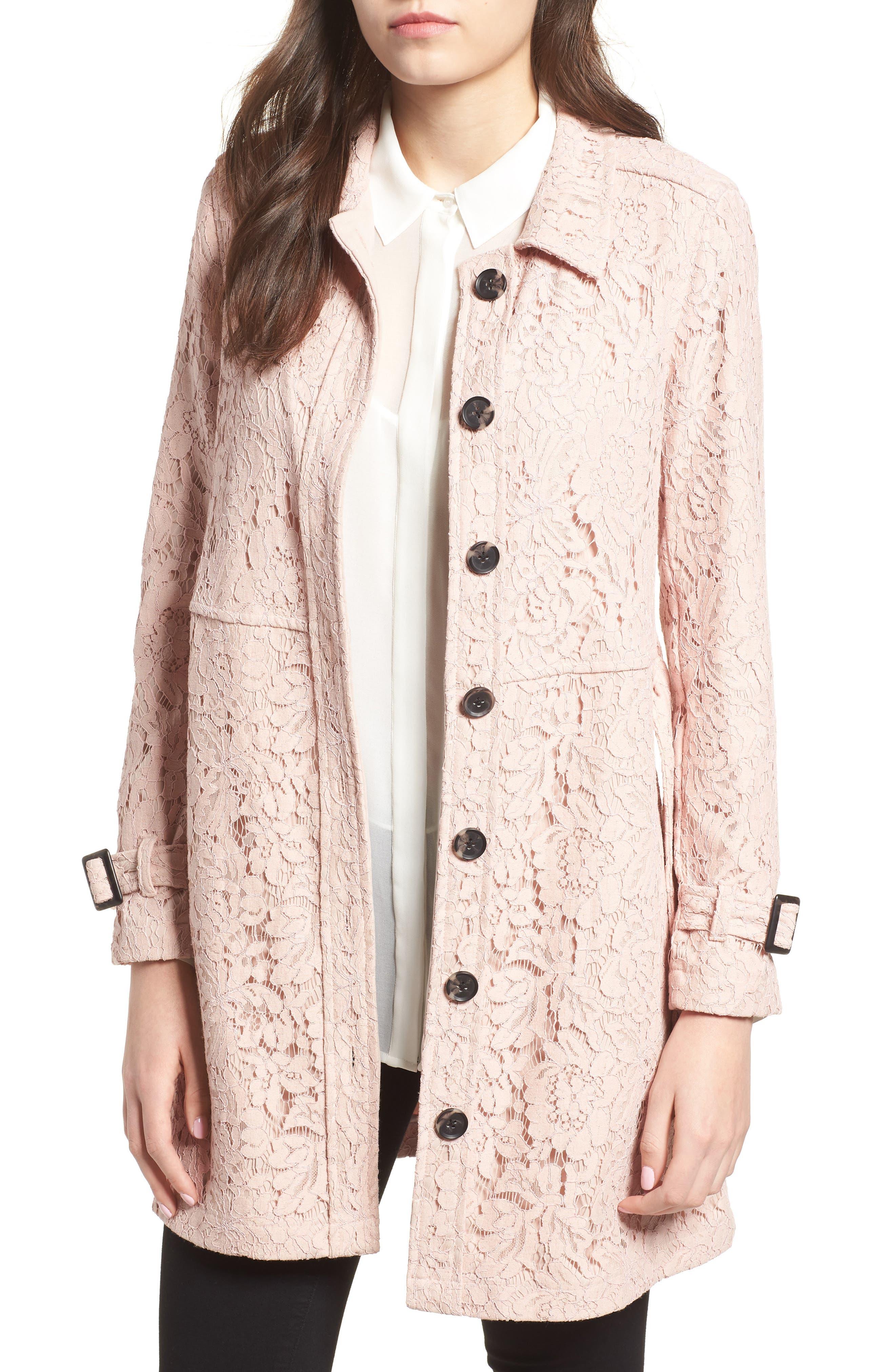 Auretta Lace Trench Coat,                             Main thumbnail 1, color,                             Pale Pink