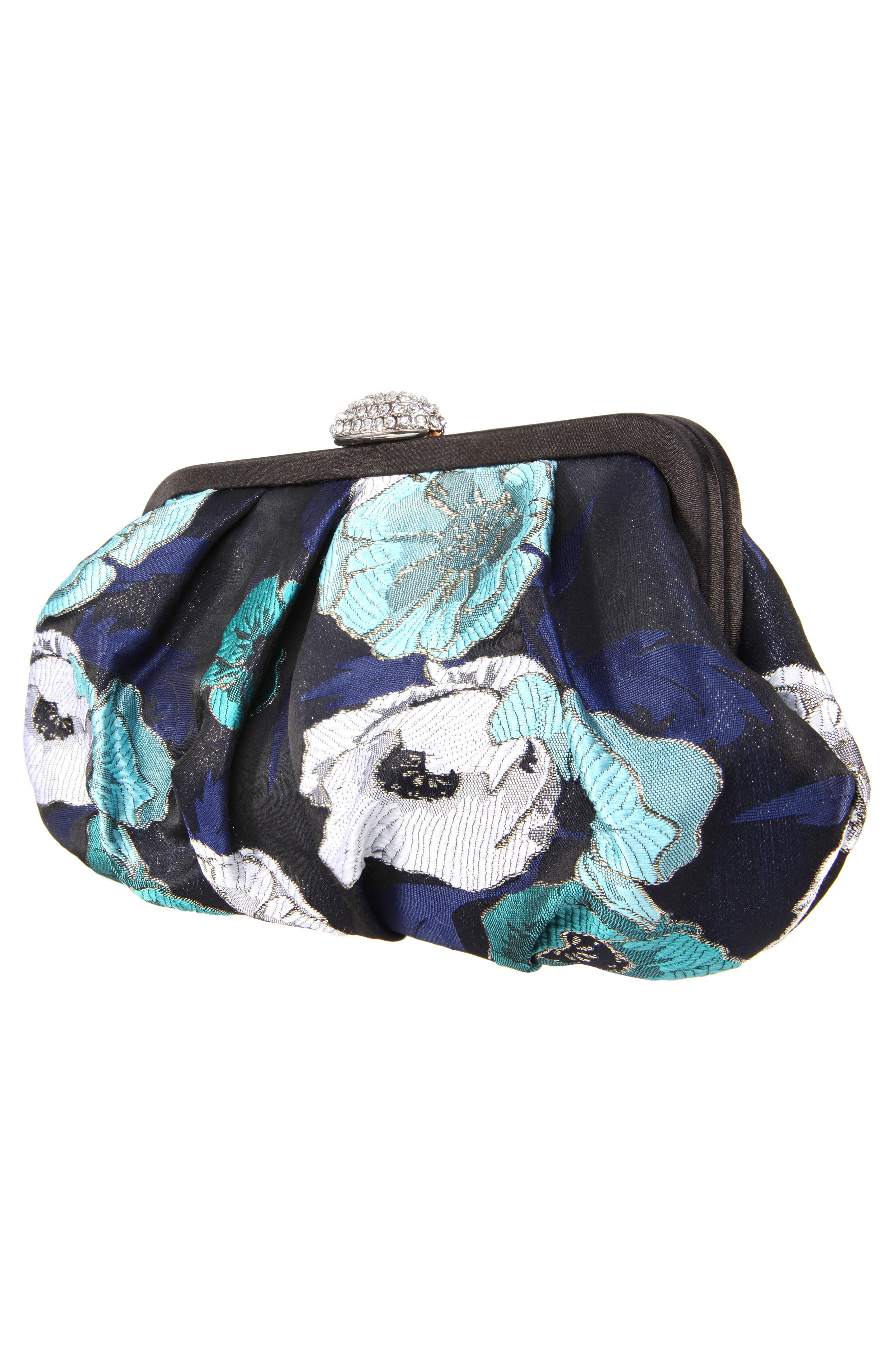 Manila Pleated Brocade Frame Clutch,                             Alternate thumbnail 4, color,                             Navy Multi