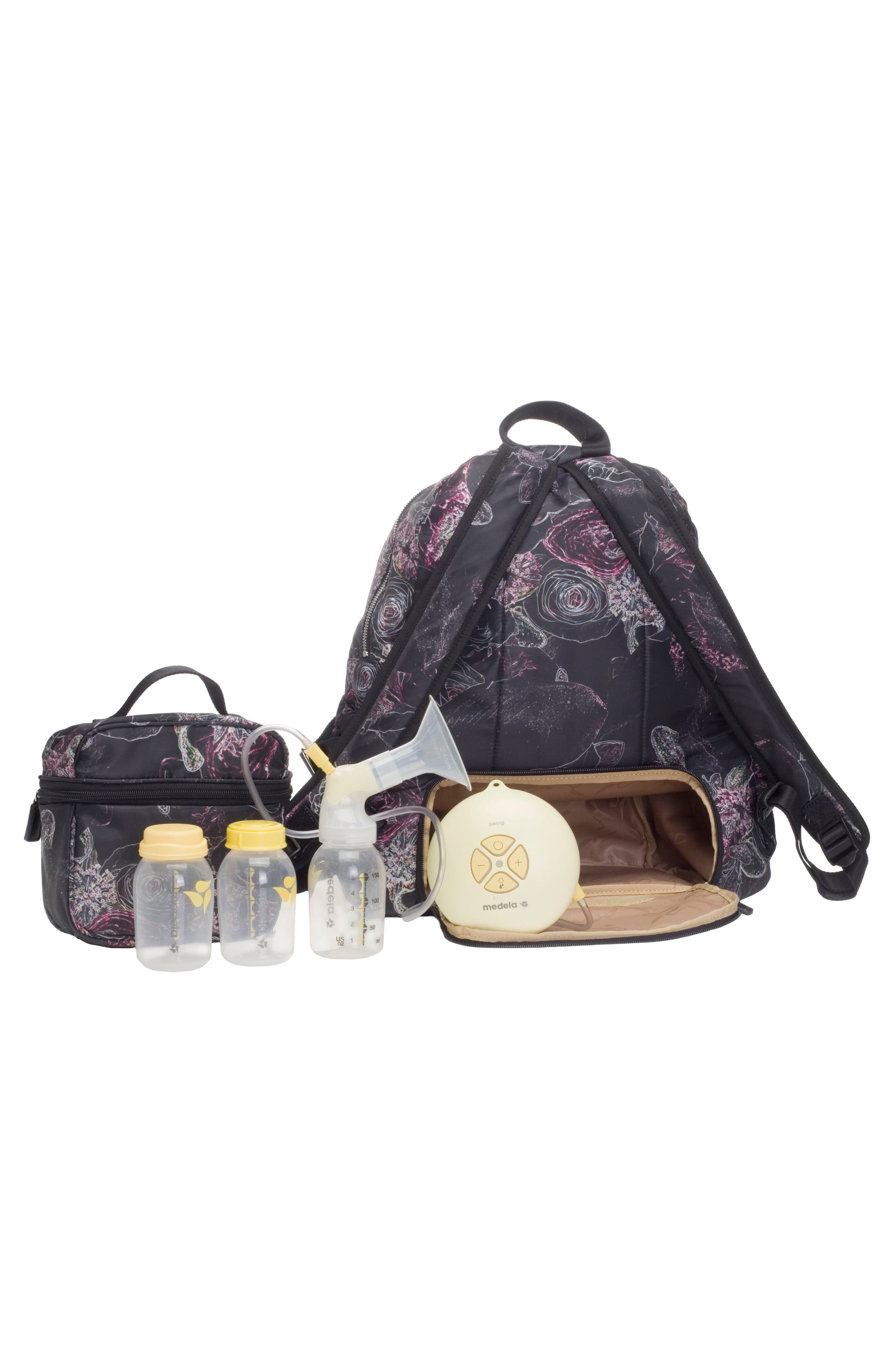 Hero Water Resistant Nylon Backpack Diaper Bag,                             Alternate thumbnail 3, color,                             Neon Floral