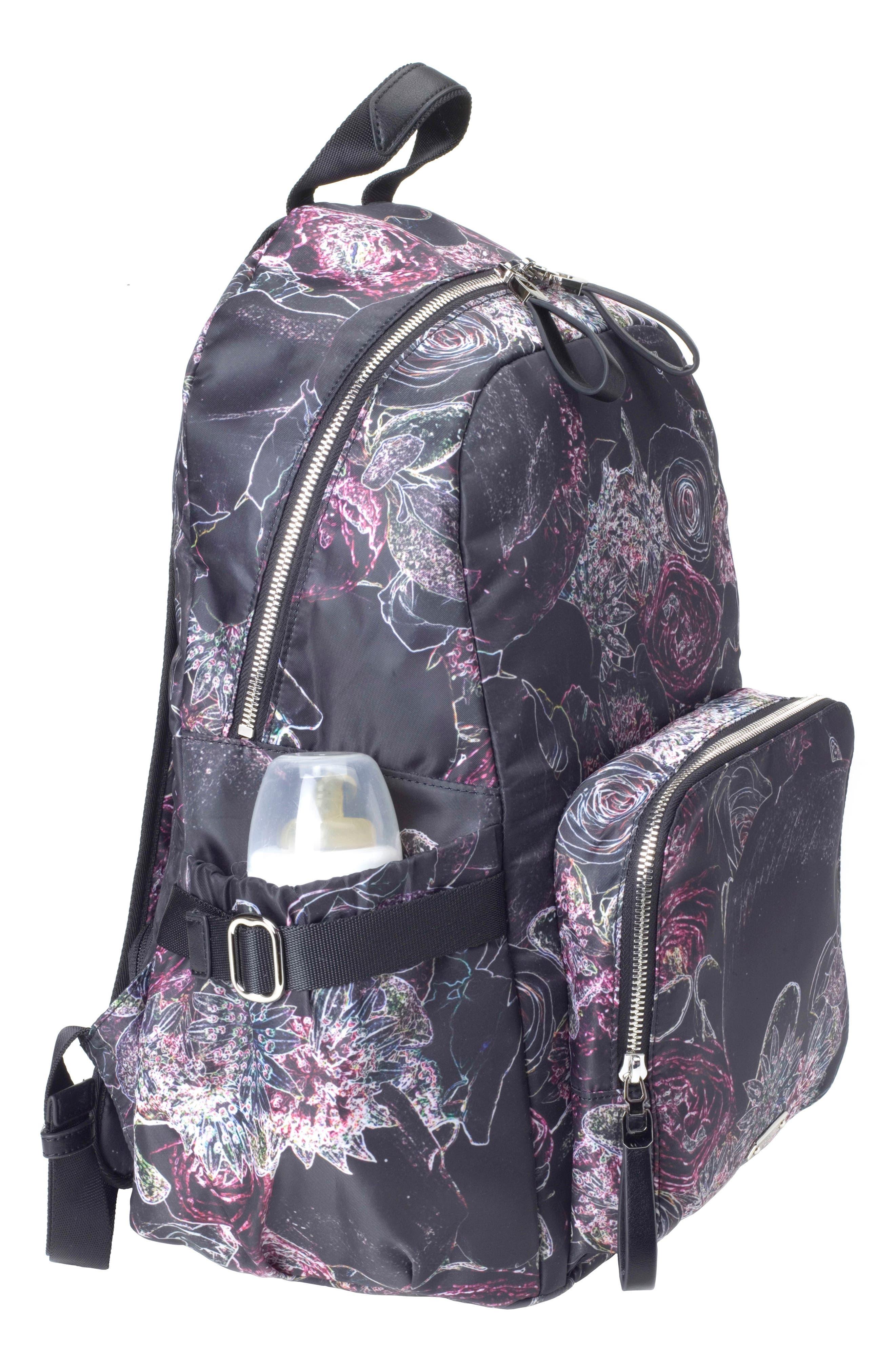 Hero Water Resistant Nylon Backpack Diaper Bag,                             Alternate thumbnail 5, color,                             Neon Floral